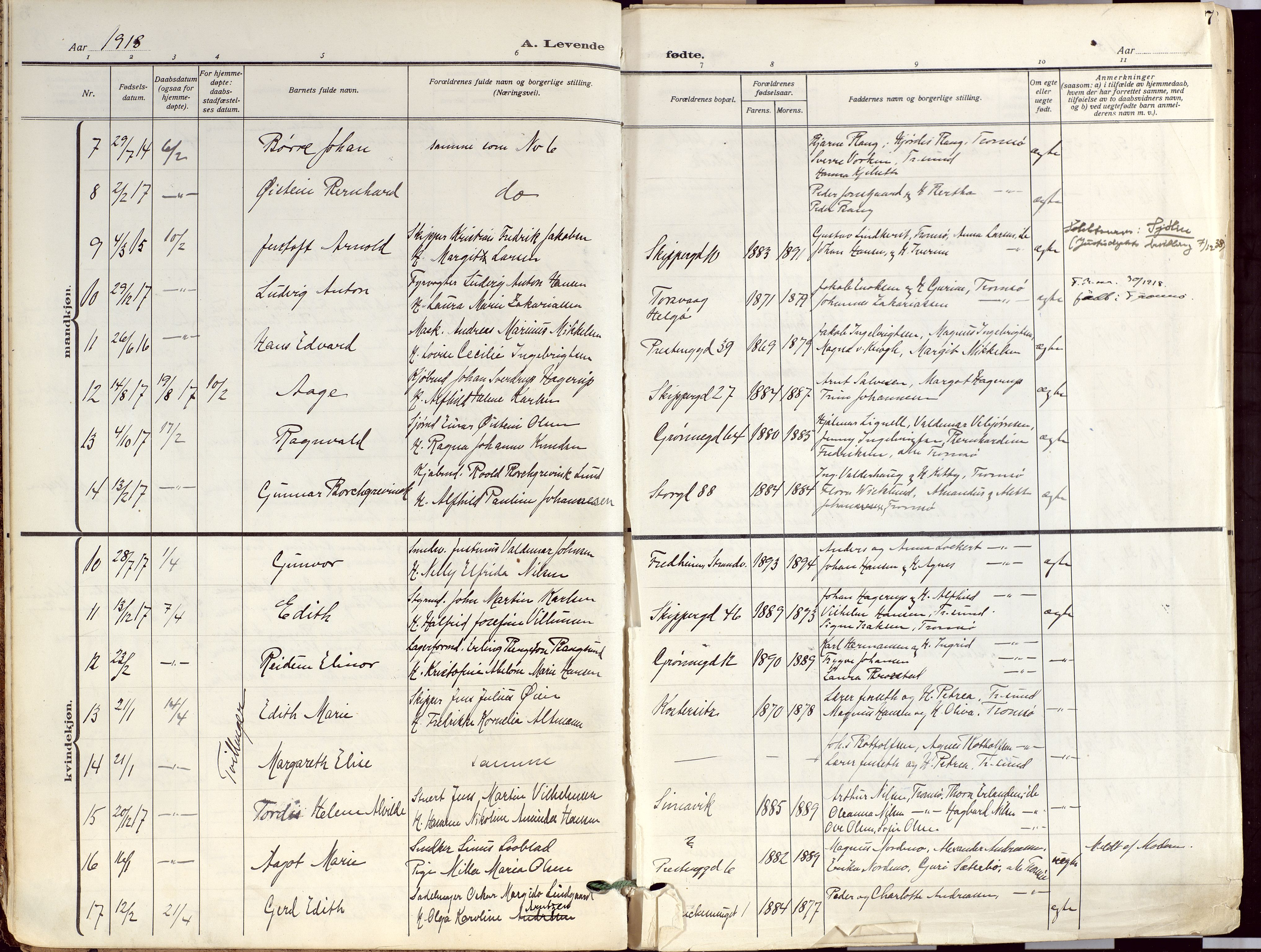 SATØ, Tromsø sokneprestkontor/stiftsprosti/domprosti, G/Ga/L0019kirke: Ministerialbok nr. 19, 1917-1927, s. 7