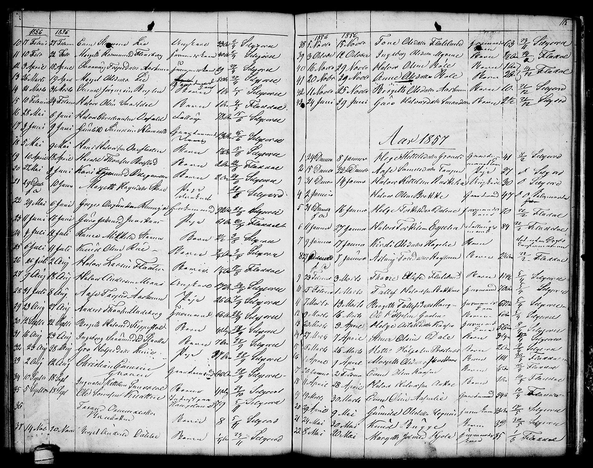 SAKO, Seljord kirkebøker, G/Ga/L0002: Klokkerbok nr. I 2, 1838-1866, s. 115