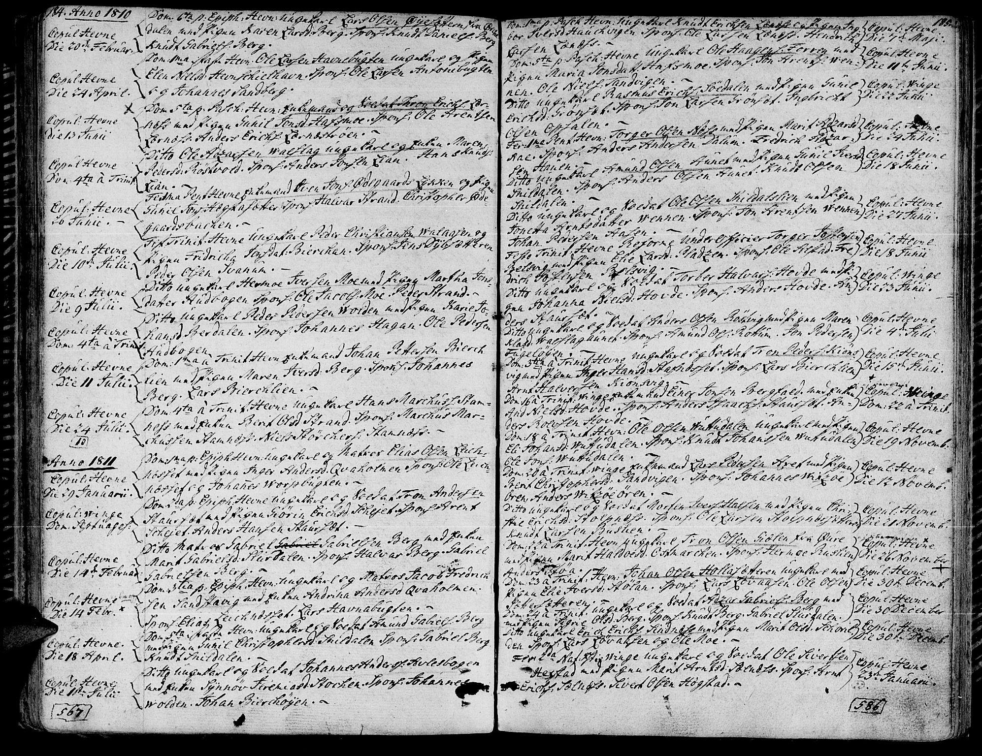 SAT, Ministerialprotokoller, klokkerbøker og fødselsregistre - Sør-Trøndelag, 630/L0490: Ministerialbok nr. 630A03, 1795-1818, s. 184-185