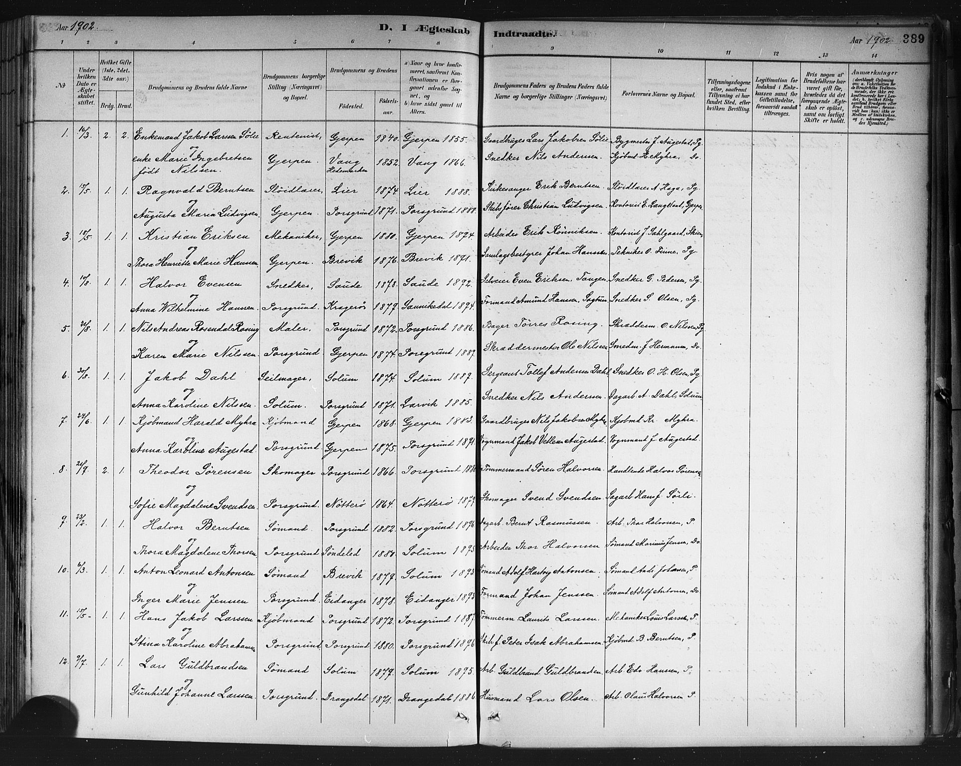 SAKO, Porsgrunn kirkebøker , G/Gb/L0005: Klokkerbok nr. II 5, 1883-1915, s. 389