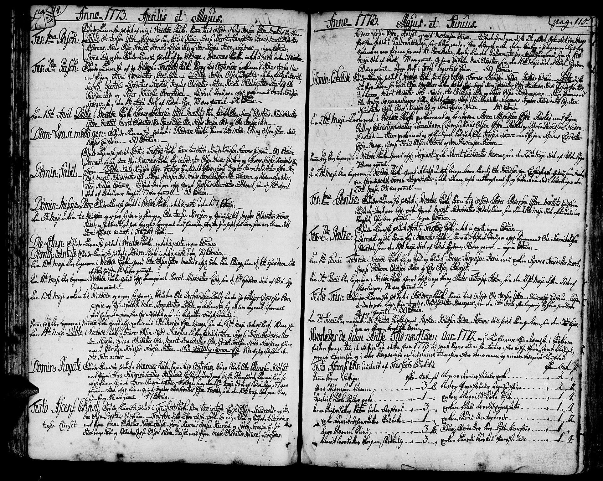 SAT, Ministerialprotokoller, klokkerbøker og fødselsregistre - Møre og Romsdal, 547/L0600: Ministerialbok nr. 547A02, 1765-1799, s. 114-115