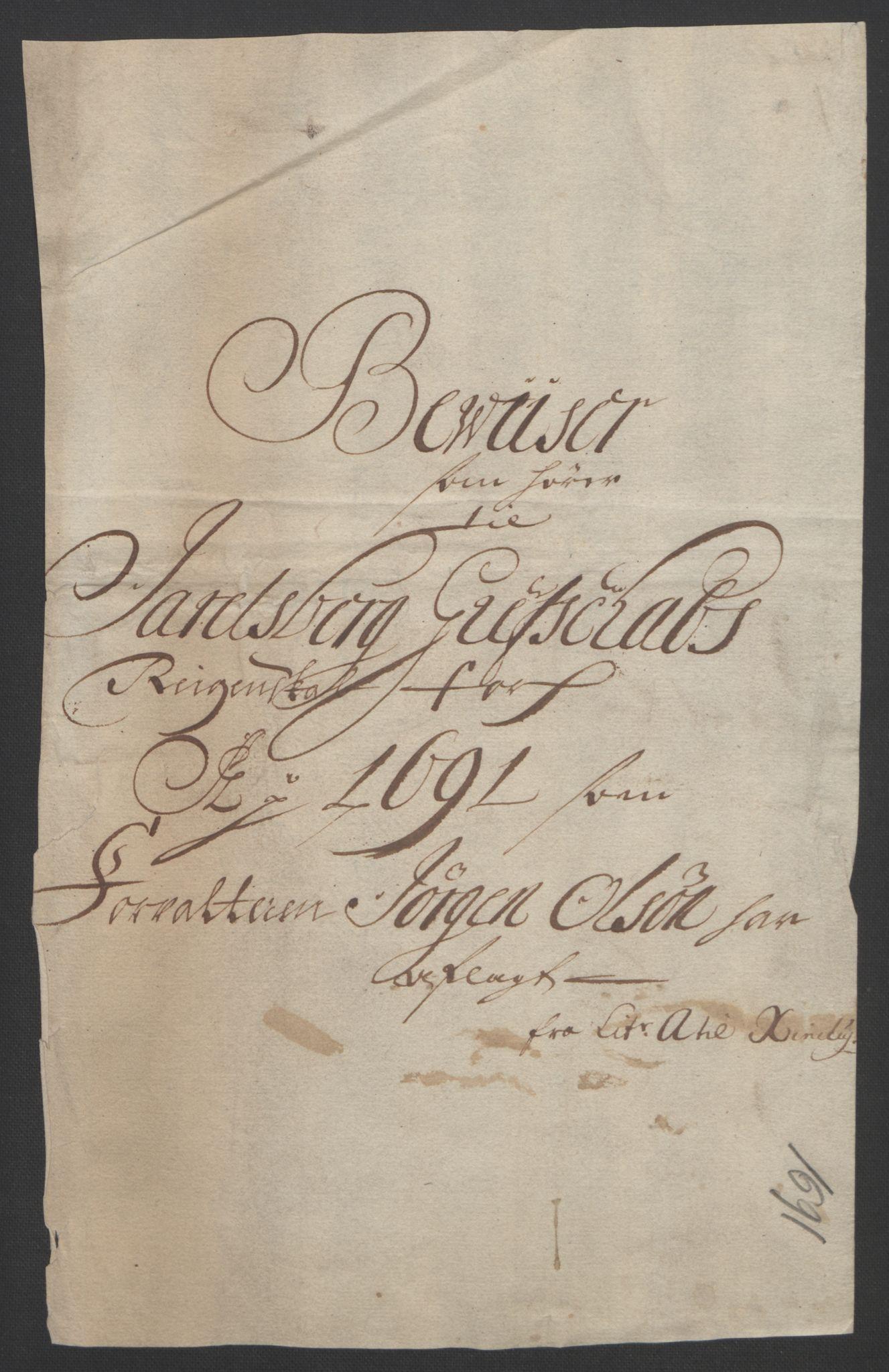 RA, Rentekammeret inntil 1814, Reviderte regnskaper, Fogderegnskap, R32/L1864: Fogderegnskap Jarlsberg grevskap, 1691, s. 451