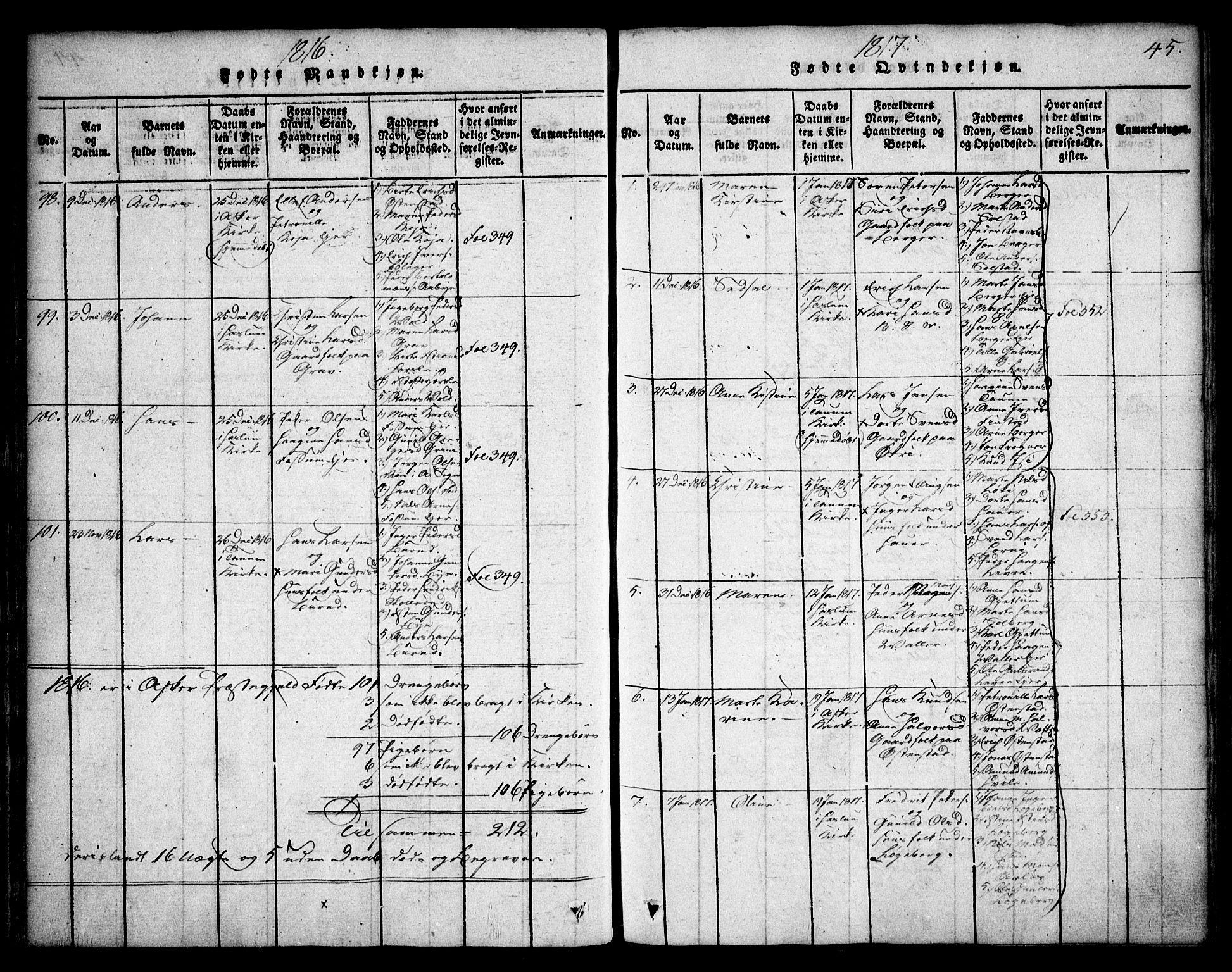 SAO, Asker prestekontor Kirkebøker, F/Fa/L0006: Ministerialbok nr. I 6, 1814-1824, s. 45