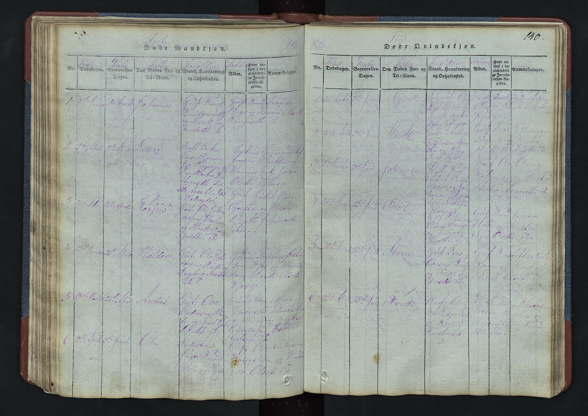 SAH, Vang prestekontor, Valdres, Klokkerbok nr. 3, 1814-1892, s. 140