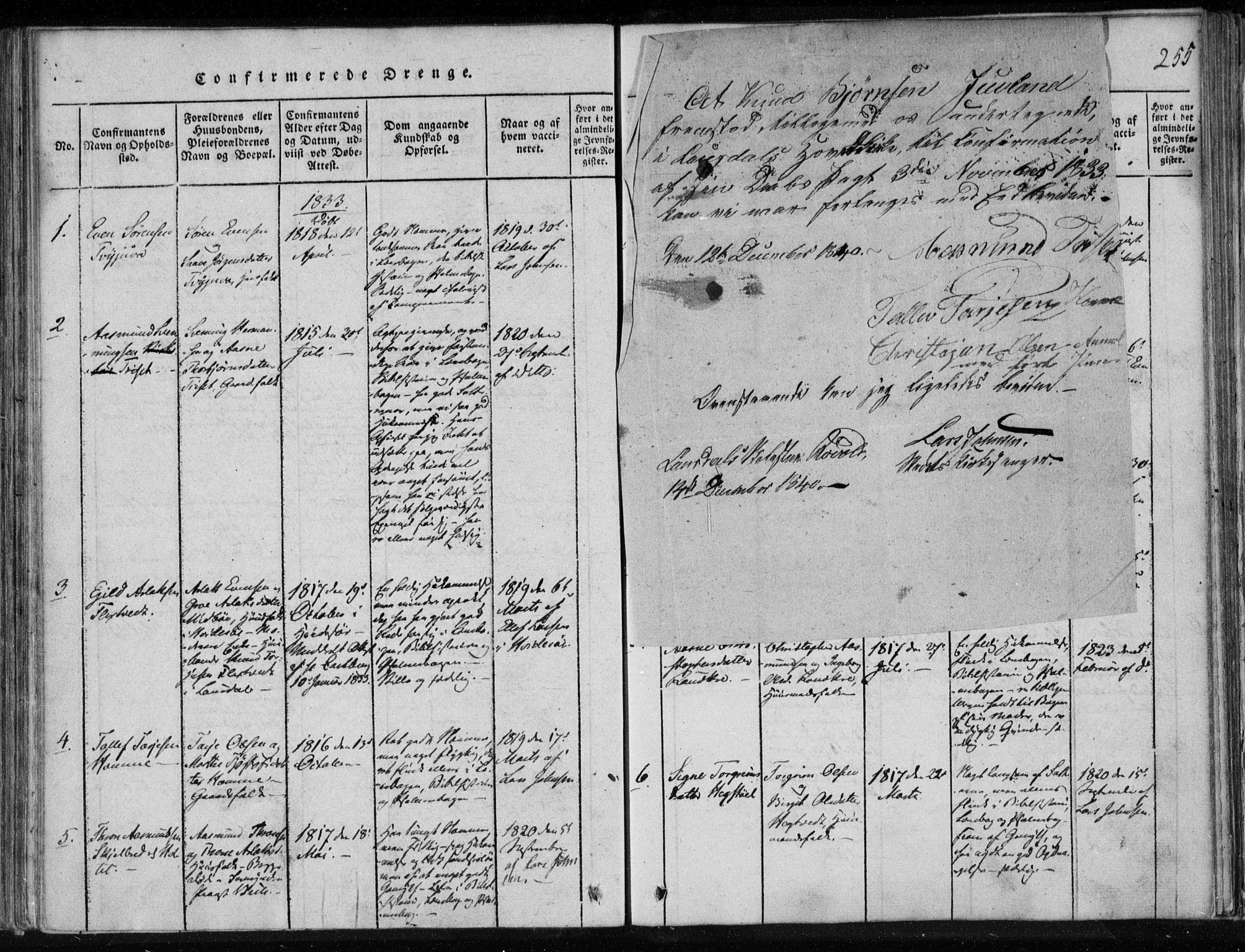 SAKO, Lårdal kirkebøker, F/Fa/L0005: Ministerialbok nr. I 5, 1815-1860, s. 255