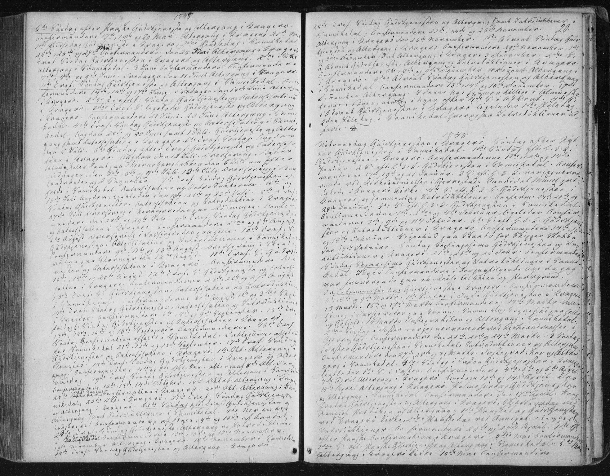 SAKO, Kragerø kirkebøker, F/Fa/L0006: Ministerialbok nr. 6, 1847-1861, s. 20