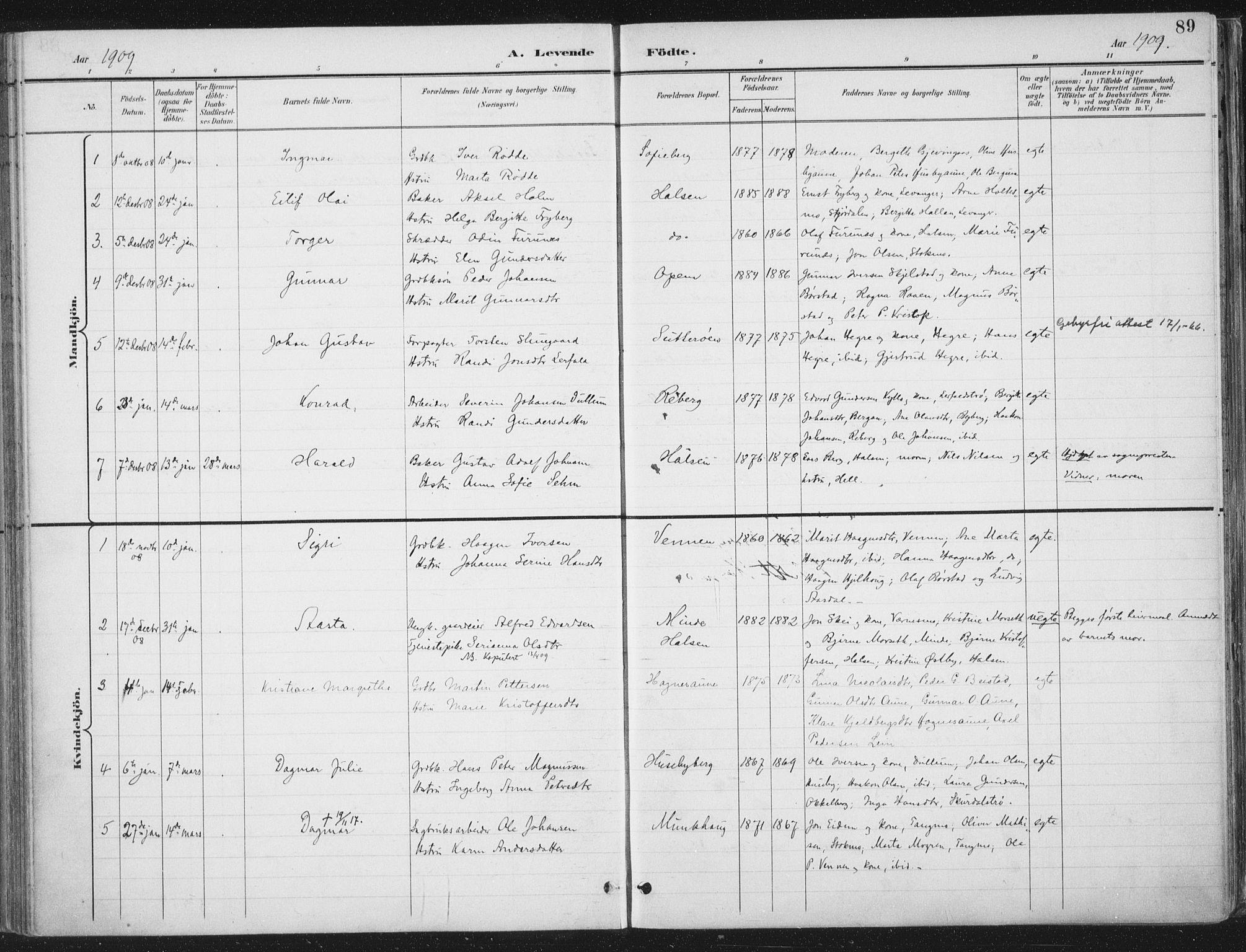 SAT, Ministerialprotokoller, klokkerbøker og fødselsregistre - Nord-Trøndelag, 709/L0082: Ministerialbok nr. 709A22, 1896-1916, s. 89