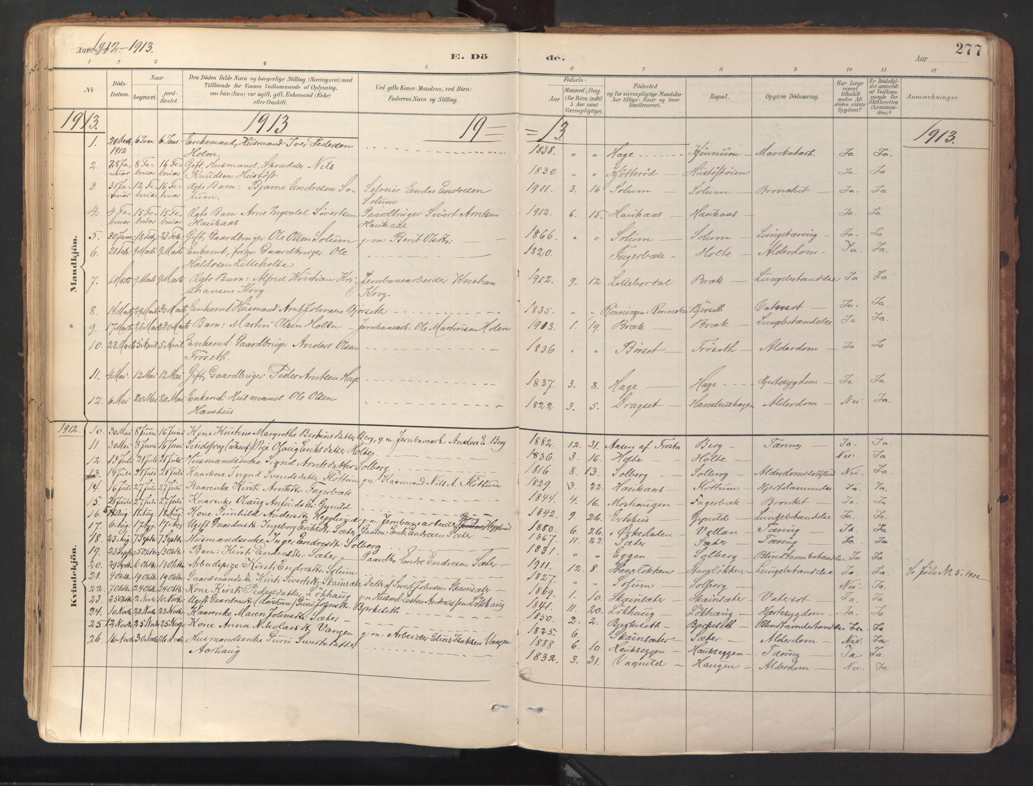 SAT, Ministerialprotokoller, klokkerbøker og fødselsregistre - Sør-Trøndelag, 689/L1041: Ministerialbok nr. 689A06, 1891-1923, s. 277