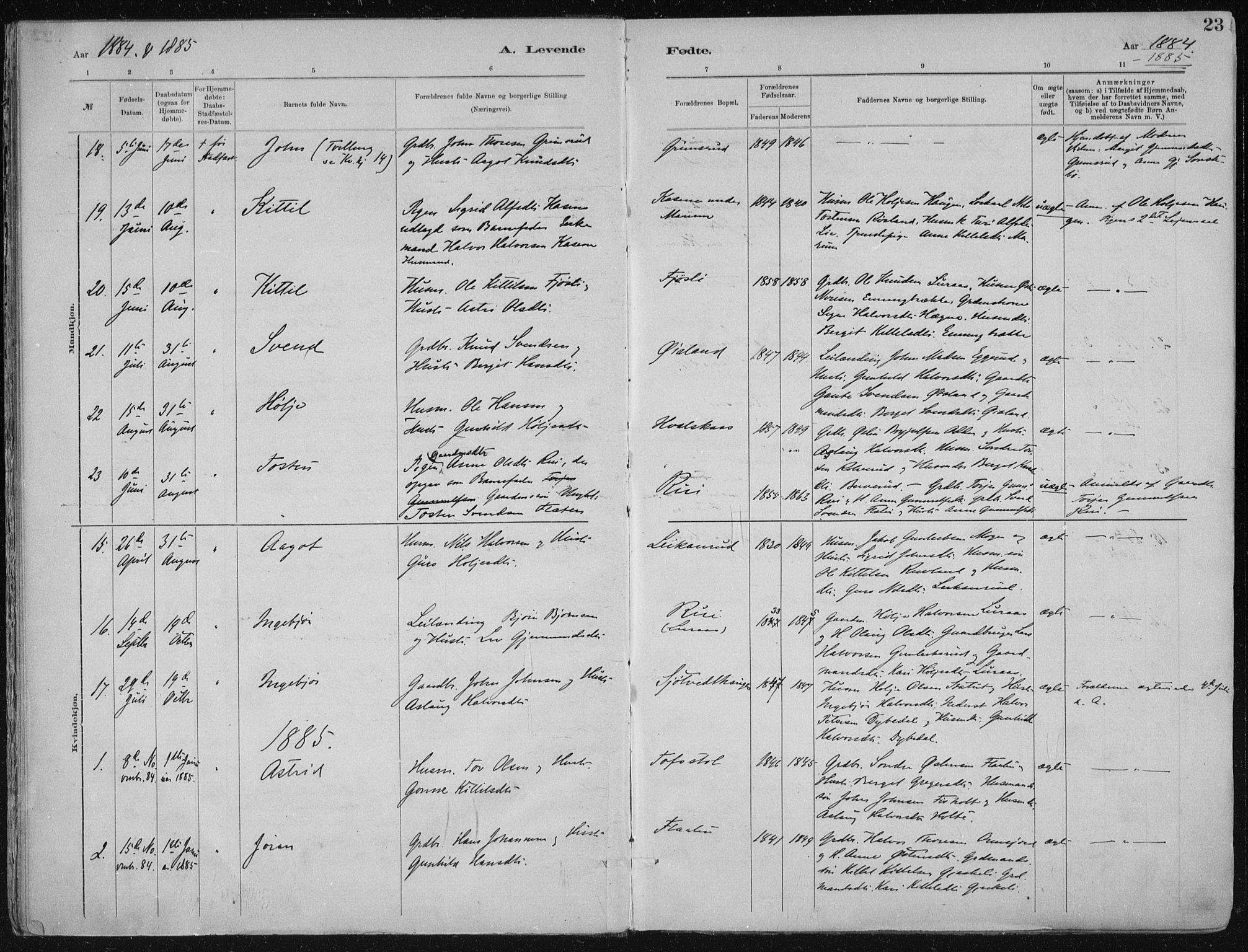 SAKO, Tinn kirkebøker, F/Fa/L0007: Ministerialbok nr. I 7, 1878-1922, s. 23