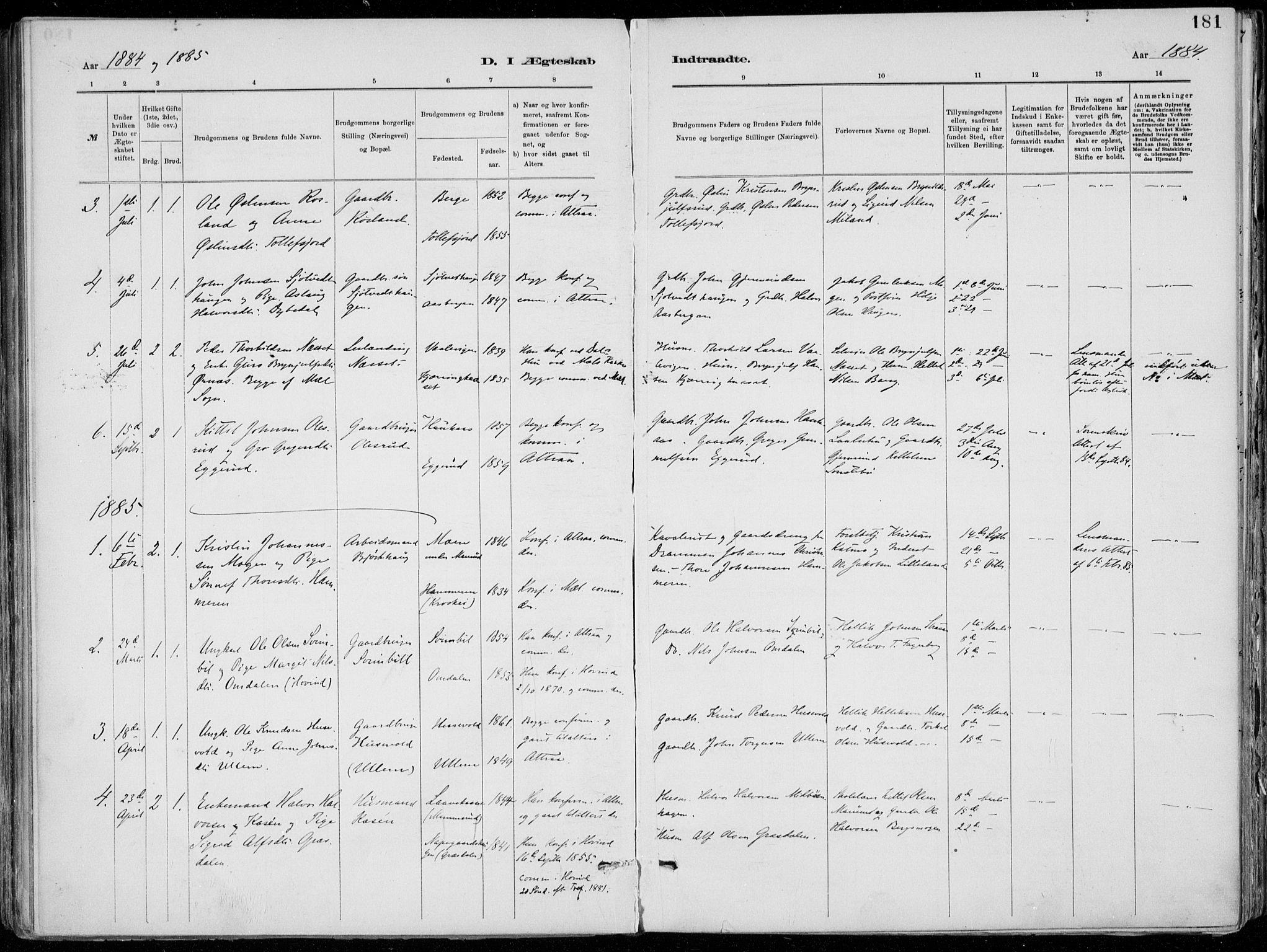 SAKO, Tinn kirkebøker, F/Fa/L0007: Ministerialbok nr. I 7, 1878-1922, s. 181