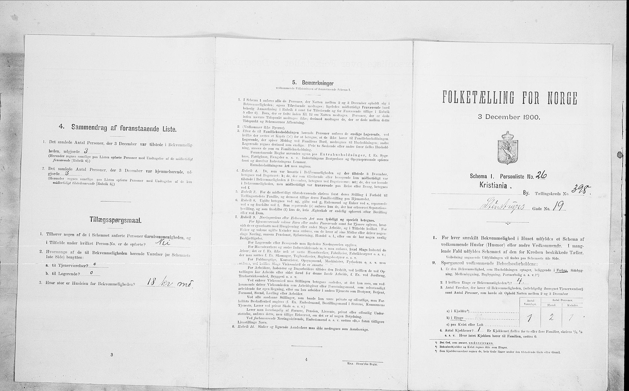 SAO, Folketelling 1900 for 0301 Kristiania kjøpstad, 1900, s. 90706
