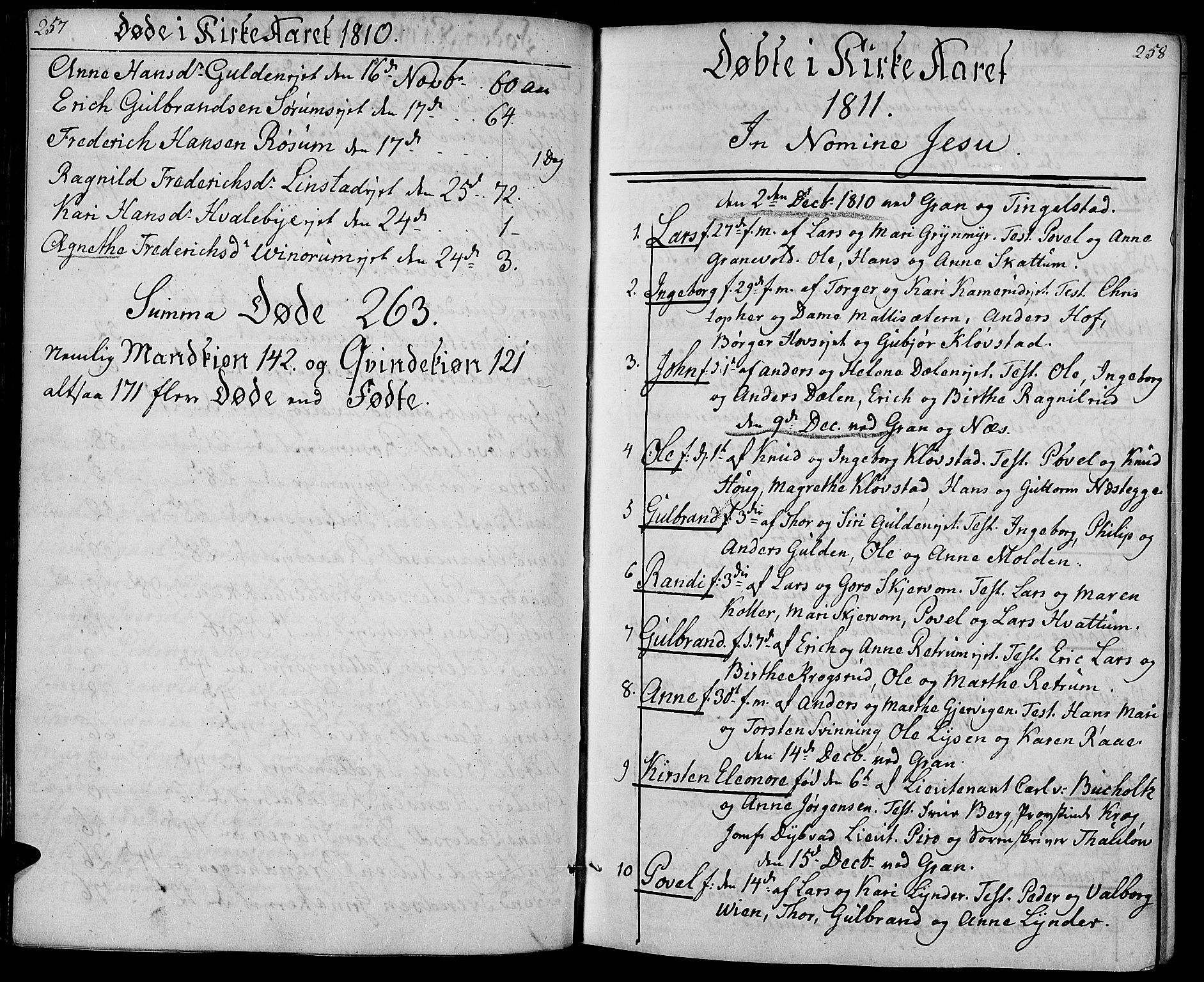 SAH, Gran prestekontor, Ministerialbok nr. 8, 1798-1811, s. 257-258