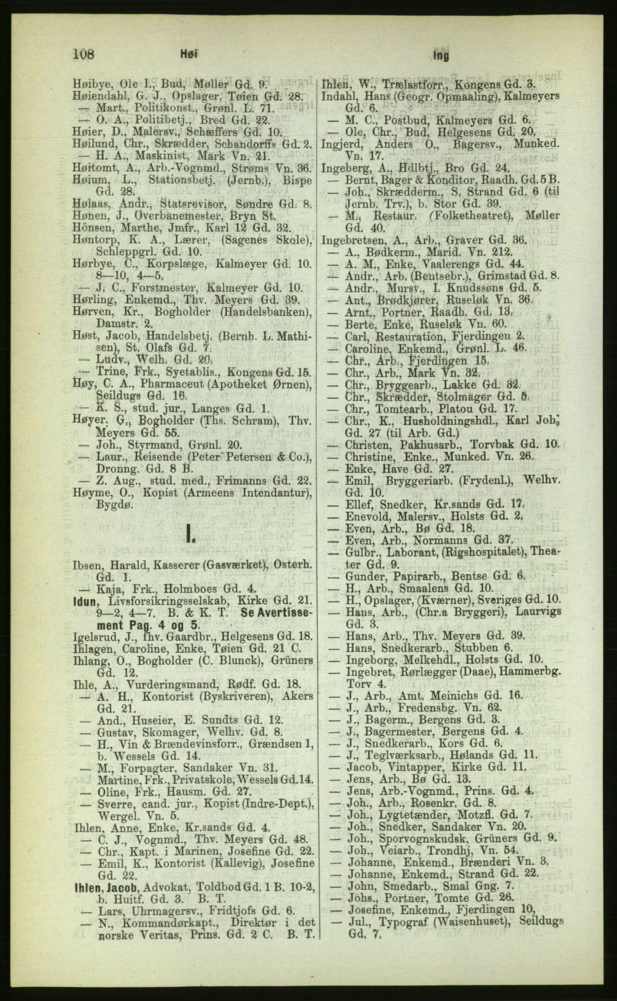 PUBL, Kristiania/Oslo adressebok, 1883, s. 108