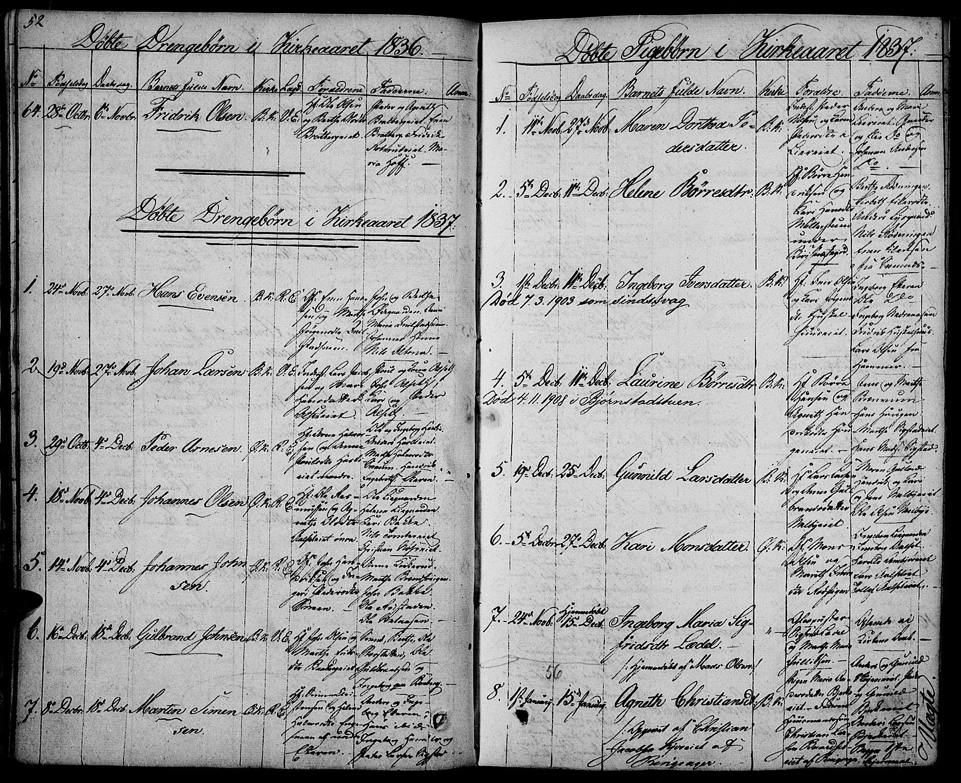 SAH, Biri prestekontor, Ministerialbok nr. 4, 1829-1842, s. 52