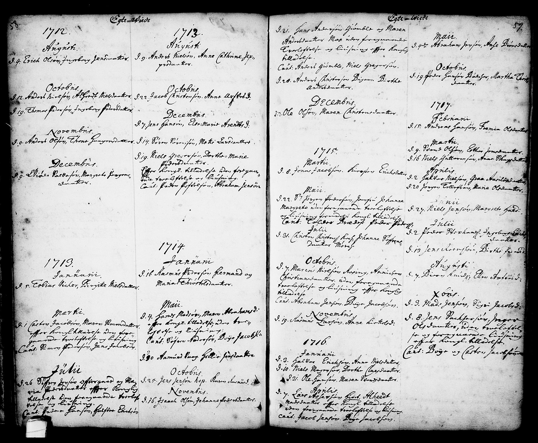 SAKO, Kragerø kirkebøker, F/Fa/L0001: Ministerialbok nr. 1, 1702-1766, s. 58-59
