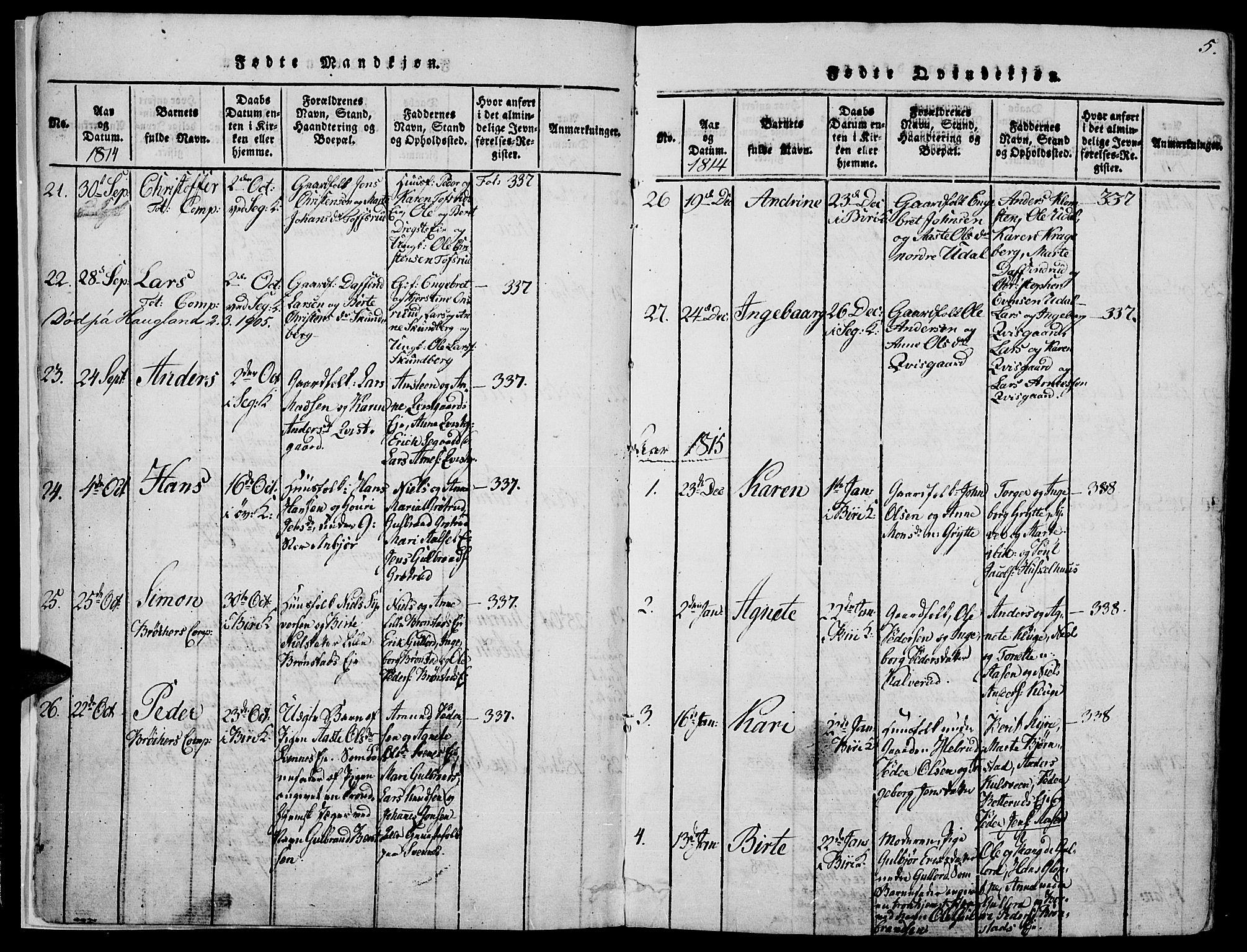 SAH, Biri prestekontor, Ministerialbok nr. 3, 1814-1828, s. 5