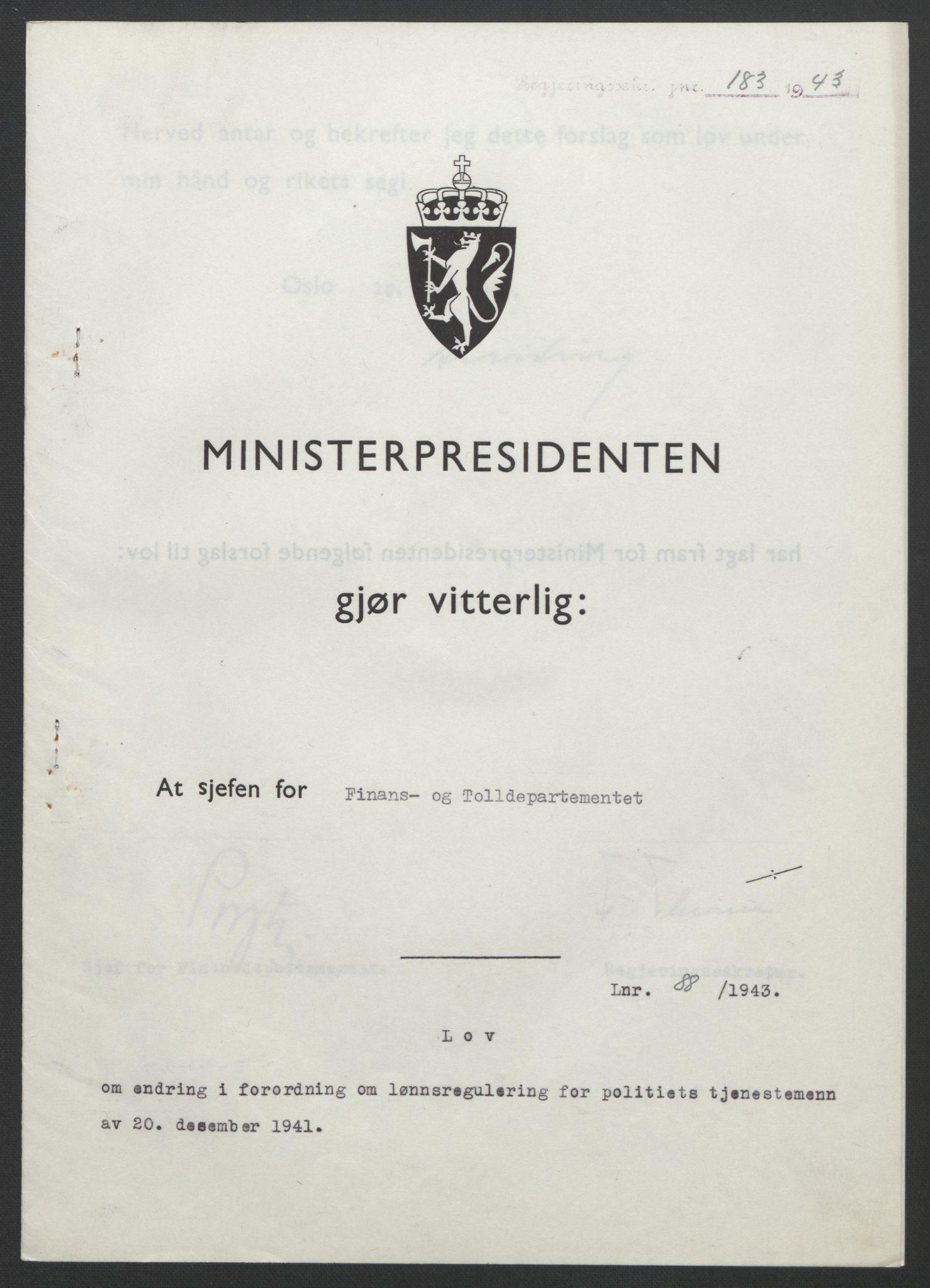 RA, NS-administrasjonen 1940-1945 (Statsrådsekretariatet, de kommisariske statsråder mm), D/Db/L0099: Lover, 1943, s. 400