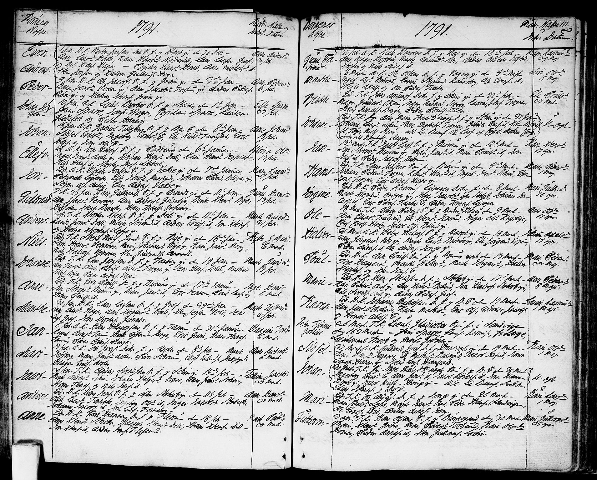 SAO, Asker prestekontor Kirkebøker, F/Fa/L0003: Ministerialbok nr. I 3, 1767-1807, s. 111