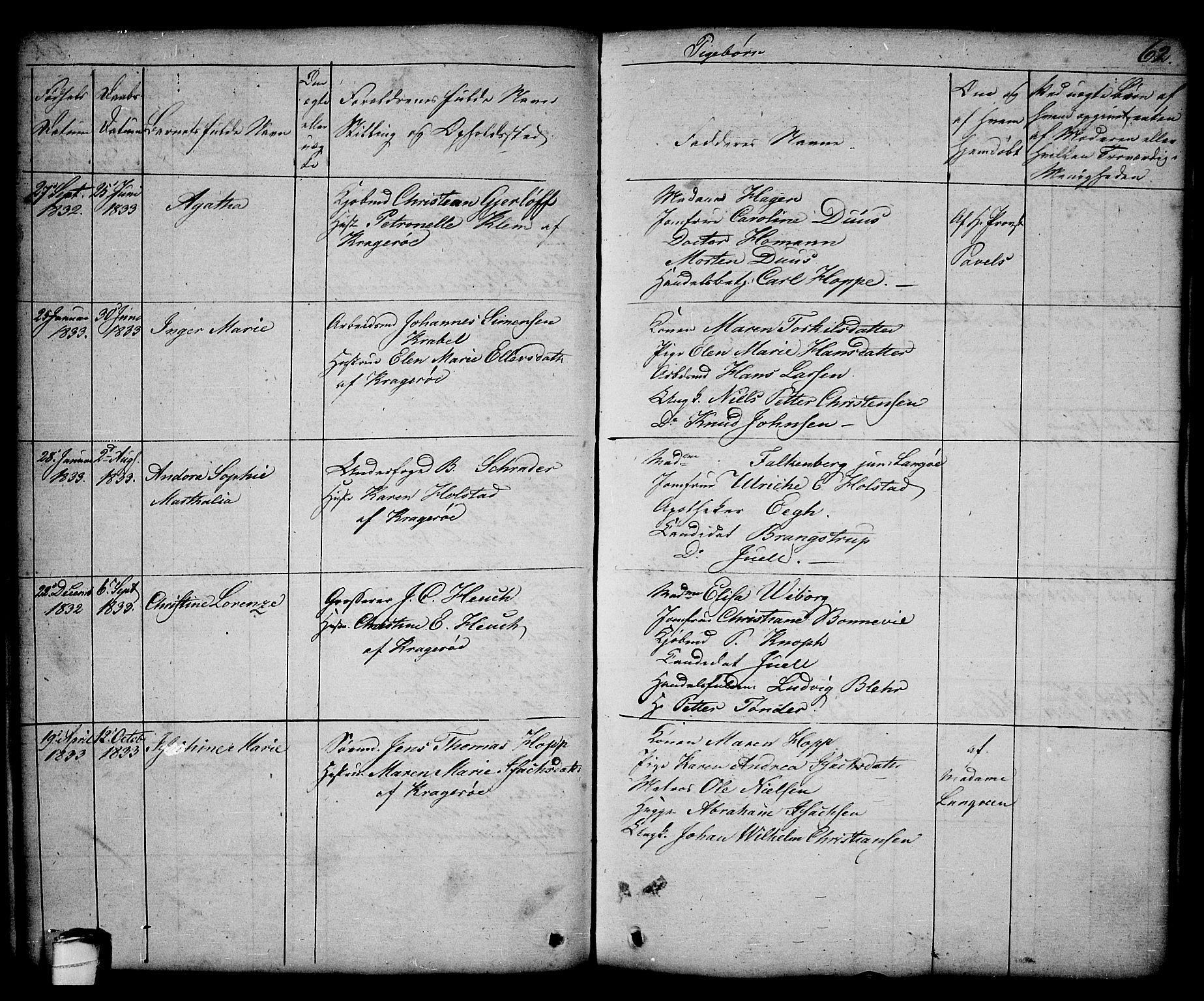 SAKO, Kragerø kirkebøker, G/Ga/L0003: Klokkerbok nr. 3, 1832-1852, s. 62