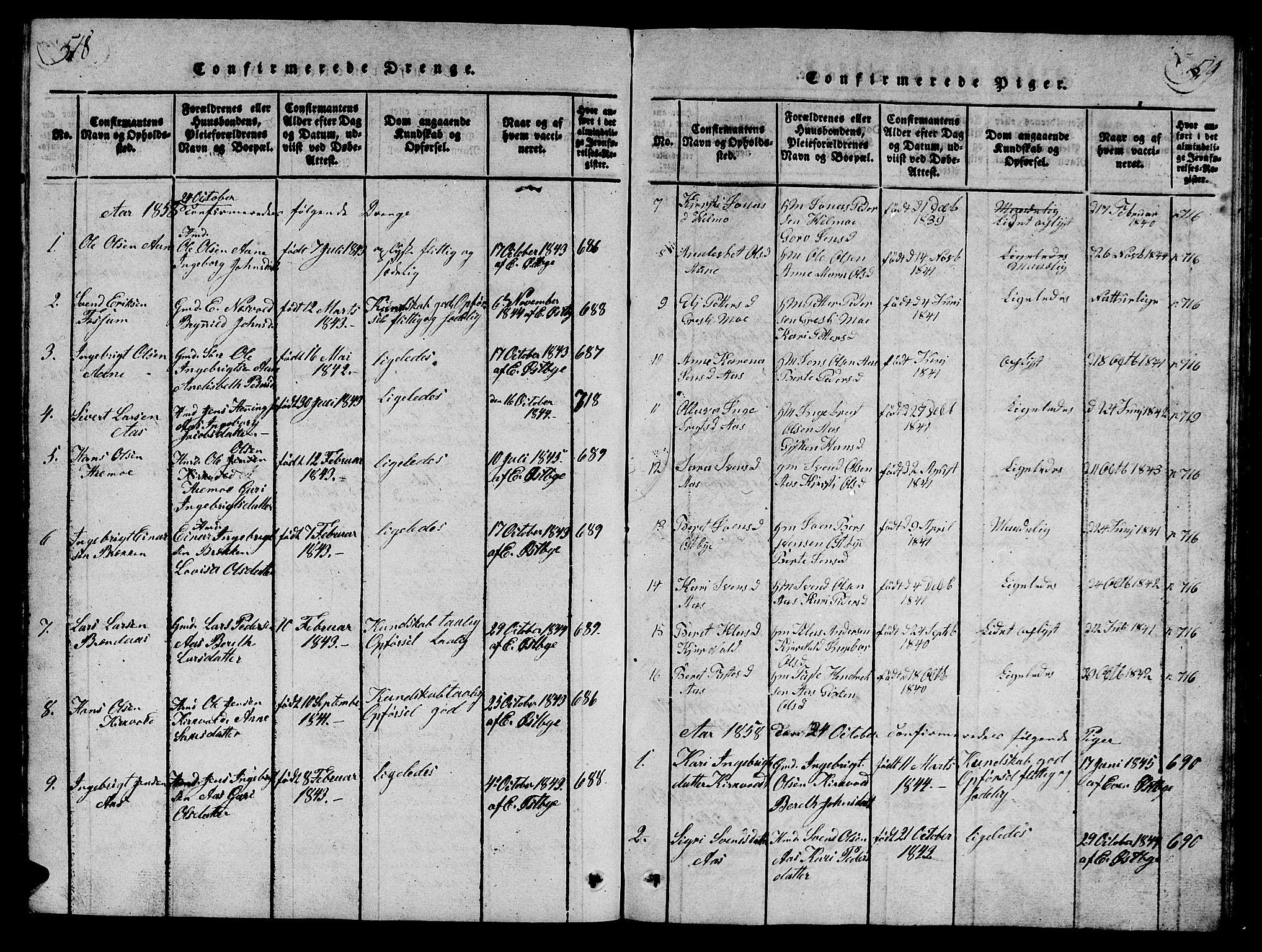 SAT, Ministerialprotokoller, klokkerbøker og fødselsregistre - Sør-Trøndelag, 698/L1164: Klokkerbok nr. 698C01, 1816-1861, s. 518-519