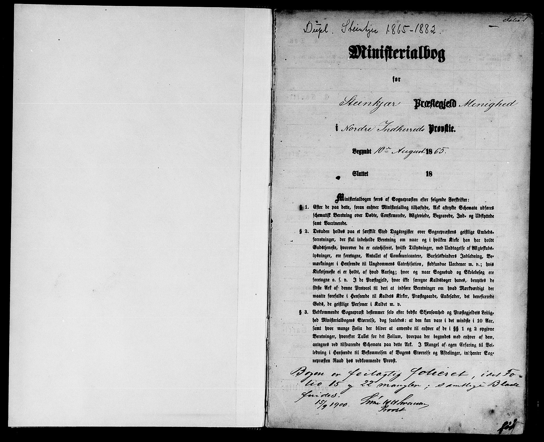 SAT, Ministerialprotokoller, klokkerbøker og fødselsregistre - Nord-Trøndelag, 739/L0373: Klokkerbok nr. 739C01, 1865-1882, s. 1