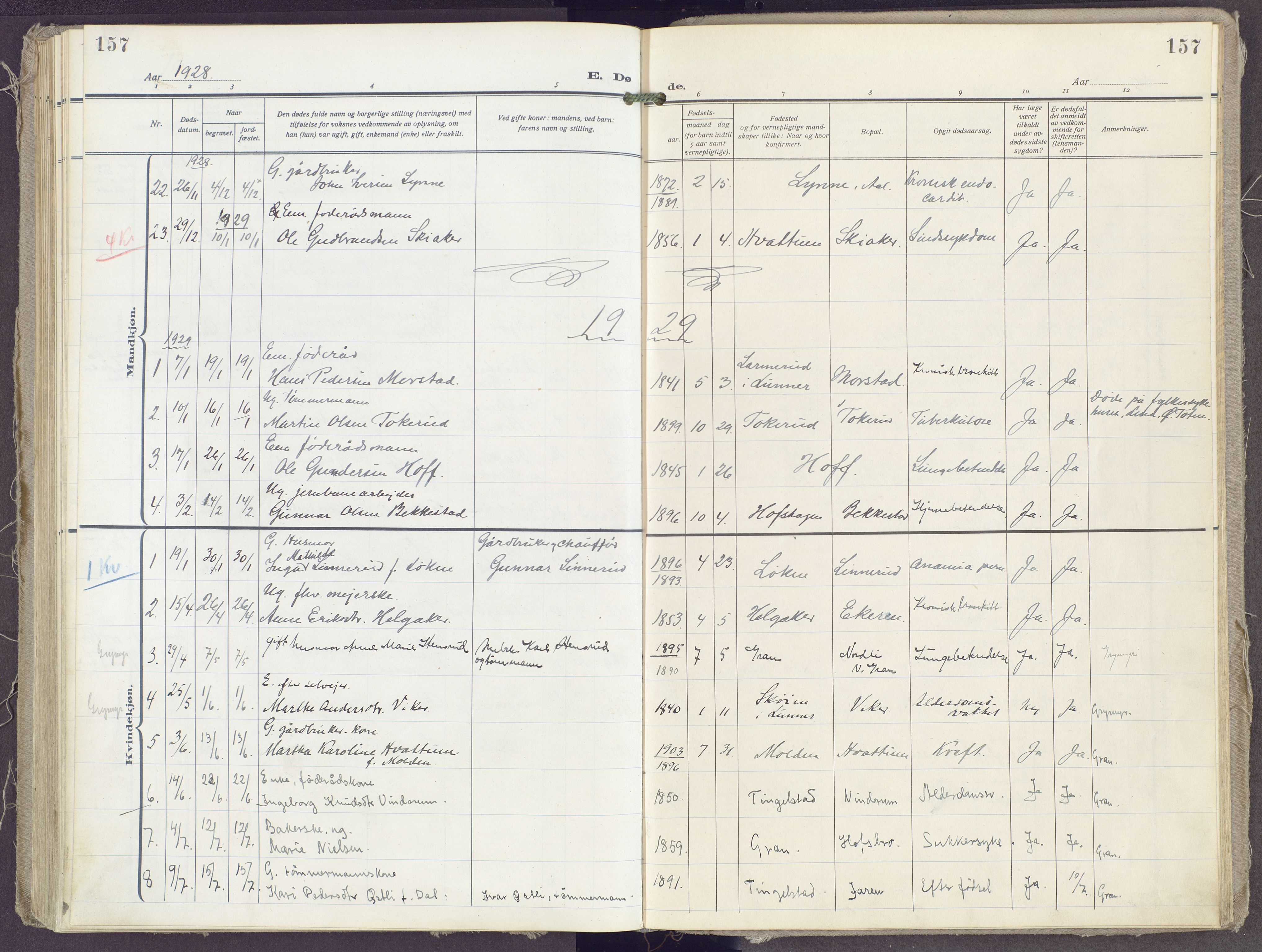 SAH, Gran prestekontor, Ministerialbok nr. 23, 1919-1938, s. 157