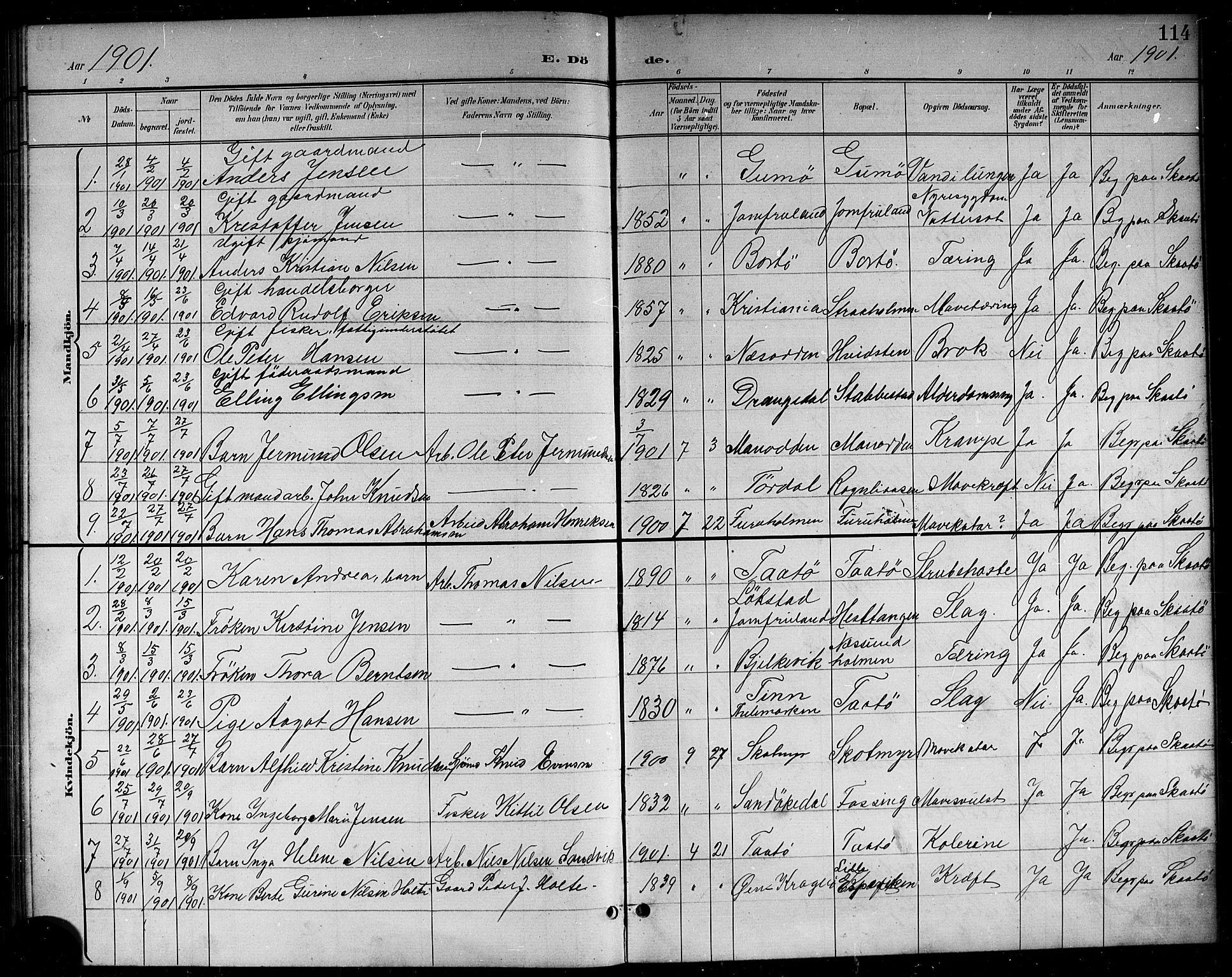 SAKO, Skåtøy kirkebøker, G/Ga/L0004: Klokkerbok nr. I 4, 1898-1916, s. 114