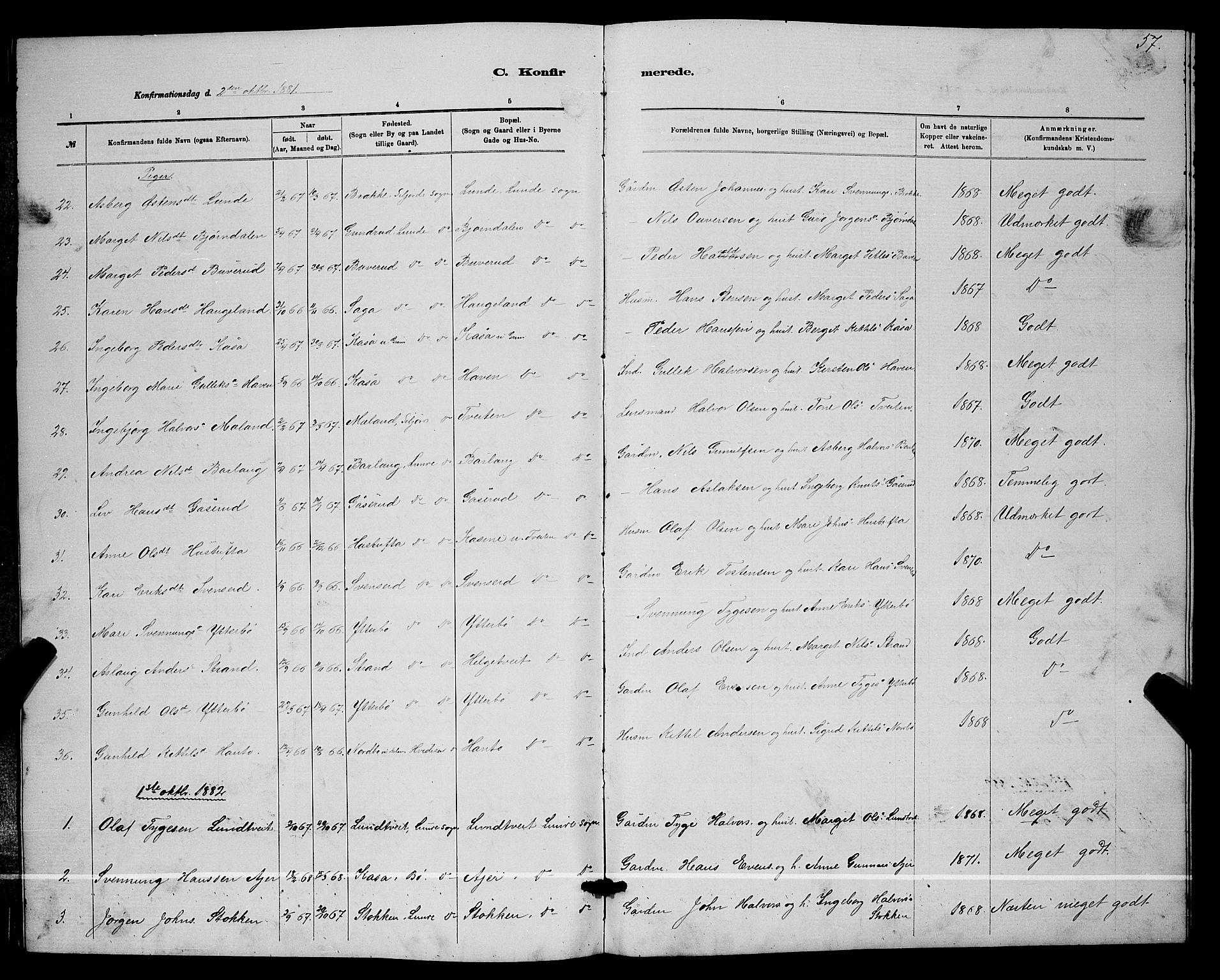 SAKO, Lunde kirkebøker, G/Ga/L0001b: Klokkerbok nr. I 1, 1879-1887, s. 57