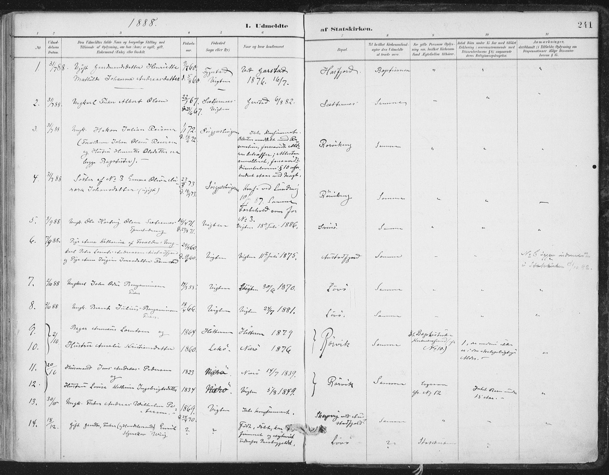 SAT, Ministerialprotokoller, klokkerbøker og fødselsregistre - Nord-Trøndelag, 786/L0687: Ministerialbok nr. 786A03, 1888-1898, s. 241