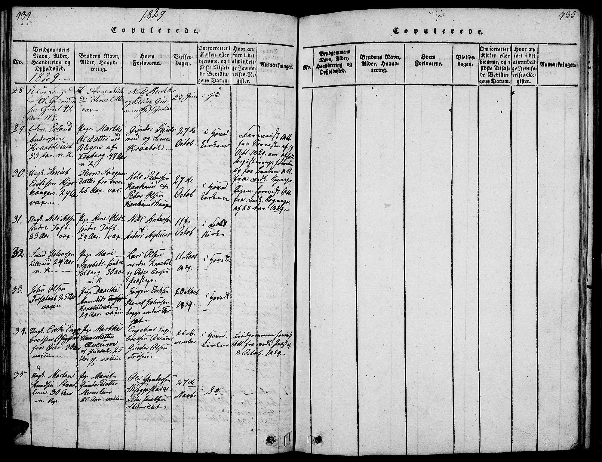 SAH, Gausdal prestekontor, Ministerialbok nr. 5, 1817-1829, s. 434-435