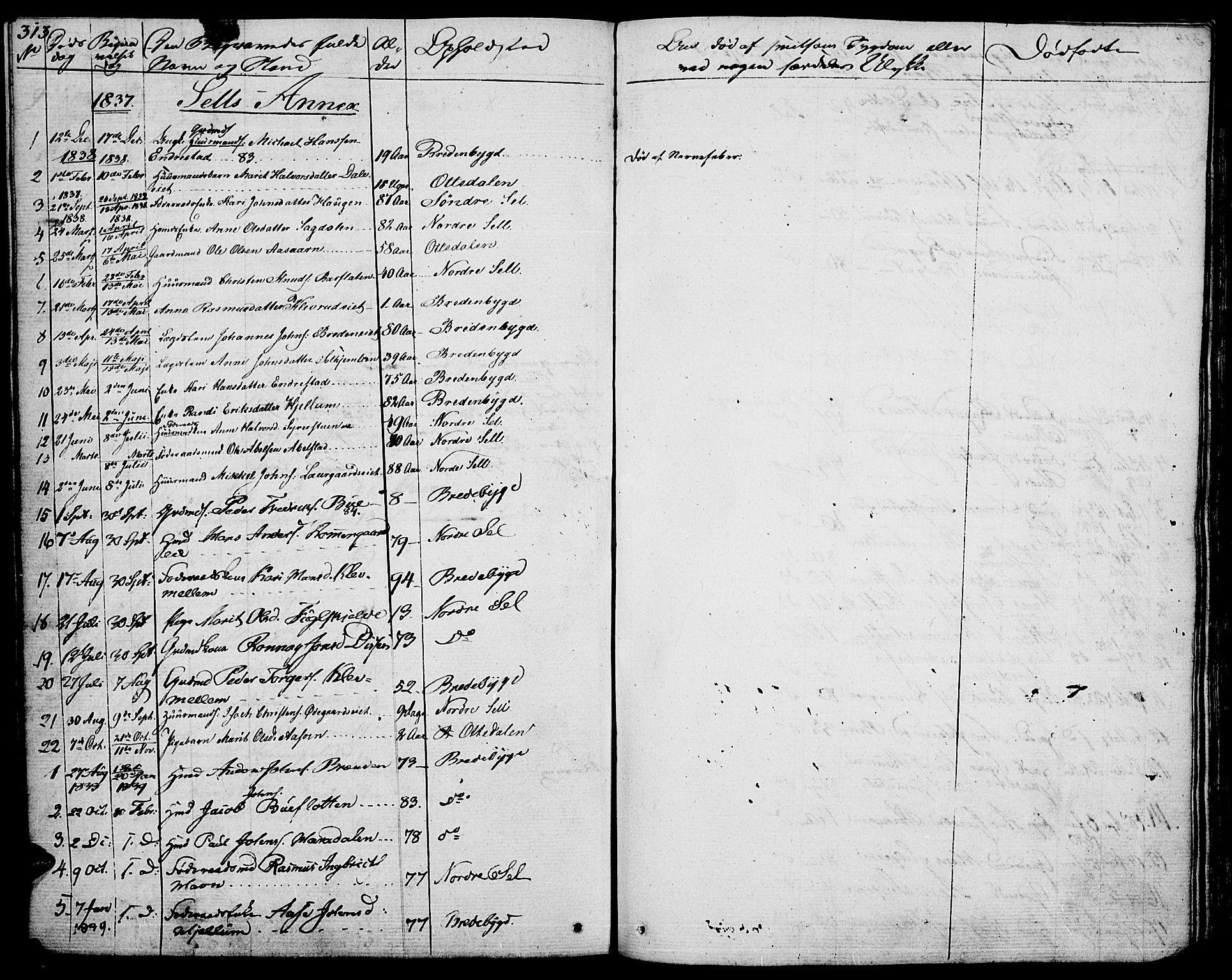 SAH, Vågå prestekontor, Ministerialbok nr. 4 /3, 1834-1842, s. 313