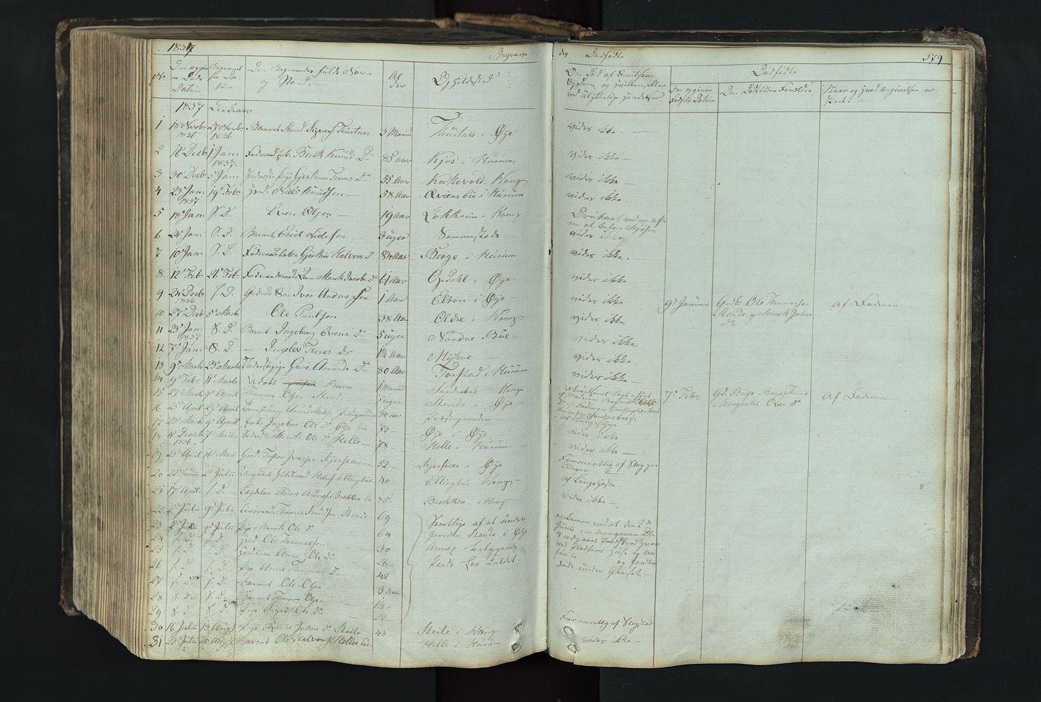 SAH, Vang prestekontor, Valdres, Klokkerbok nr. 4, 1835-1892, s. 379