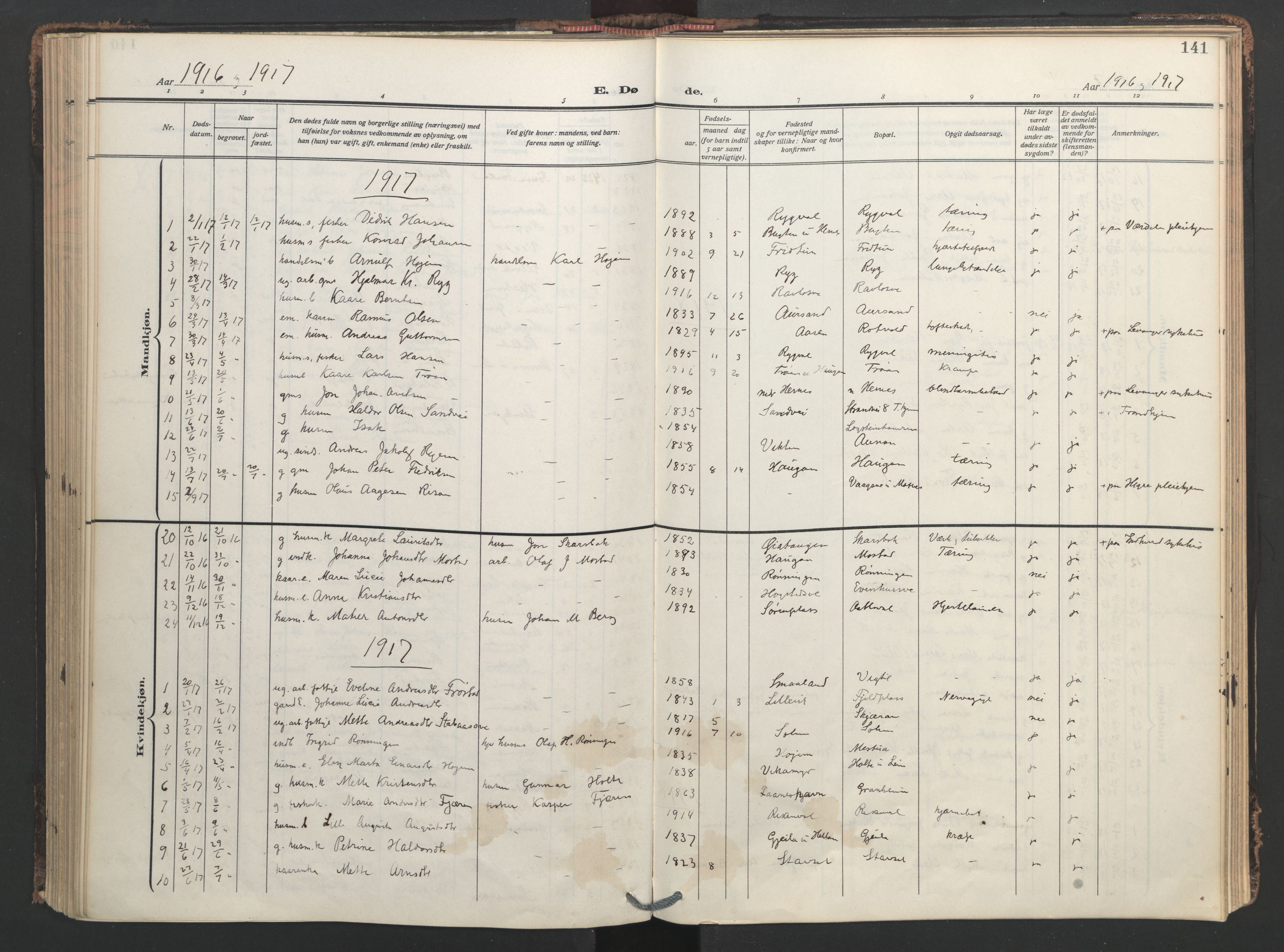 SAT, Ministerialprotokoller, klokkerbøker og fødselsregistre - Nord-Trøndelag, 713/L0123: Ministerialbok nr. 713A12, 1911-1925, s. 141