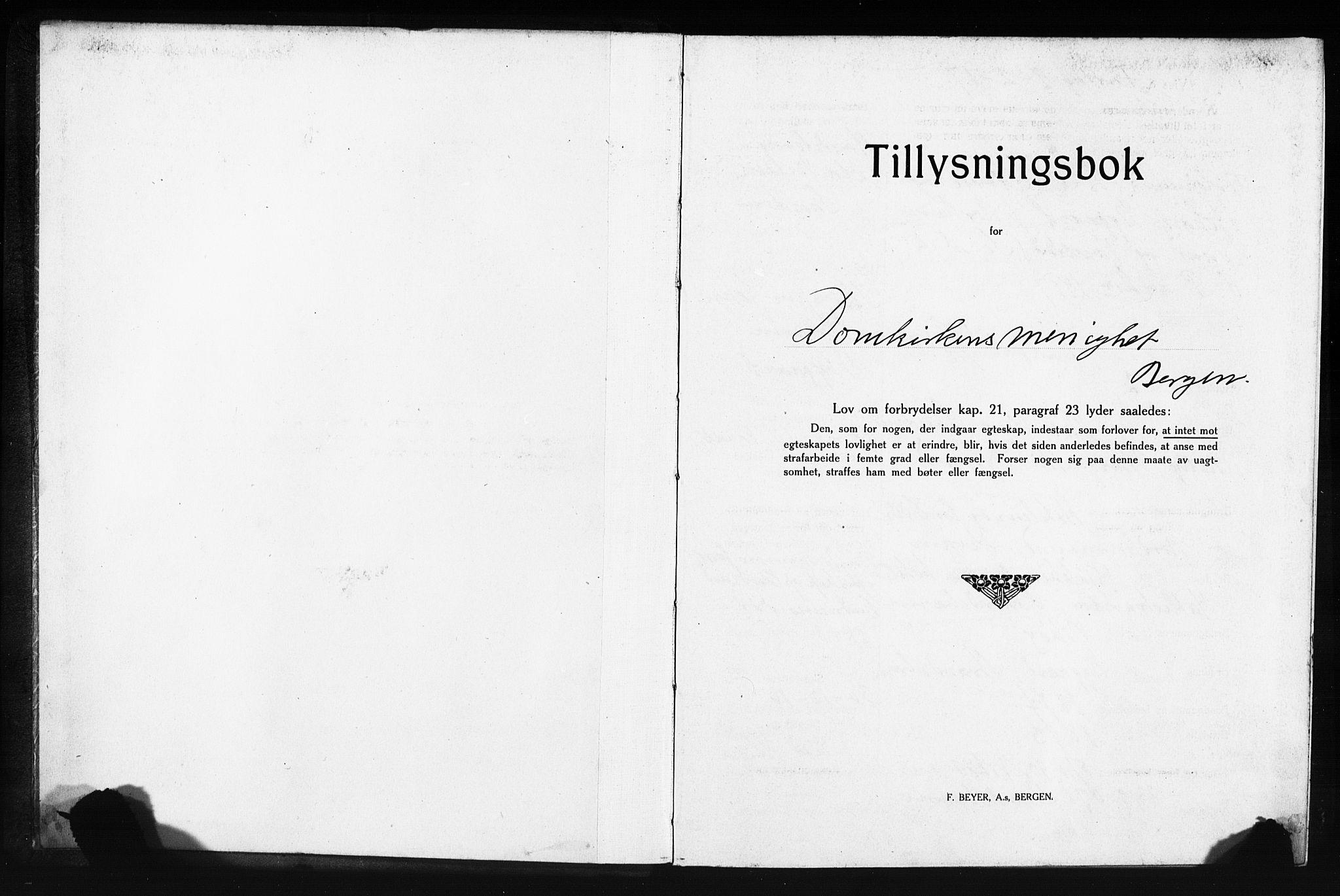 SAB, Domkirken Sokneprestembete, Forlovererklæringer nr. II.5.13, 1917-1922, s. 1