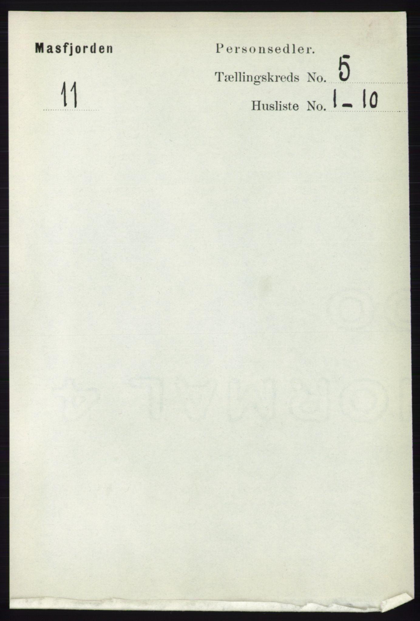RA, Folketelling 1891 for 1266 Masfjorden herred, 1891, s. 853