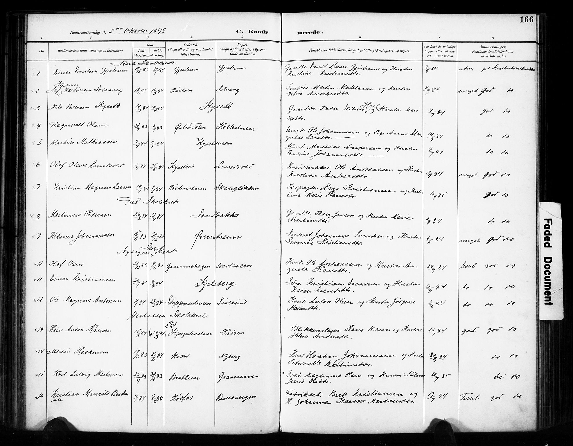 SAH, Vestre Toten prestekontor, H/Ha/Haa/L0011: Ministerialbok nr. 11, 1895-1906, s. 166