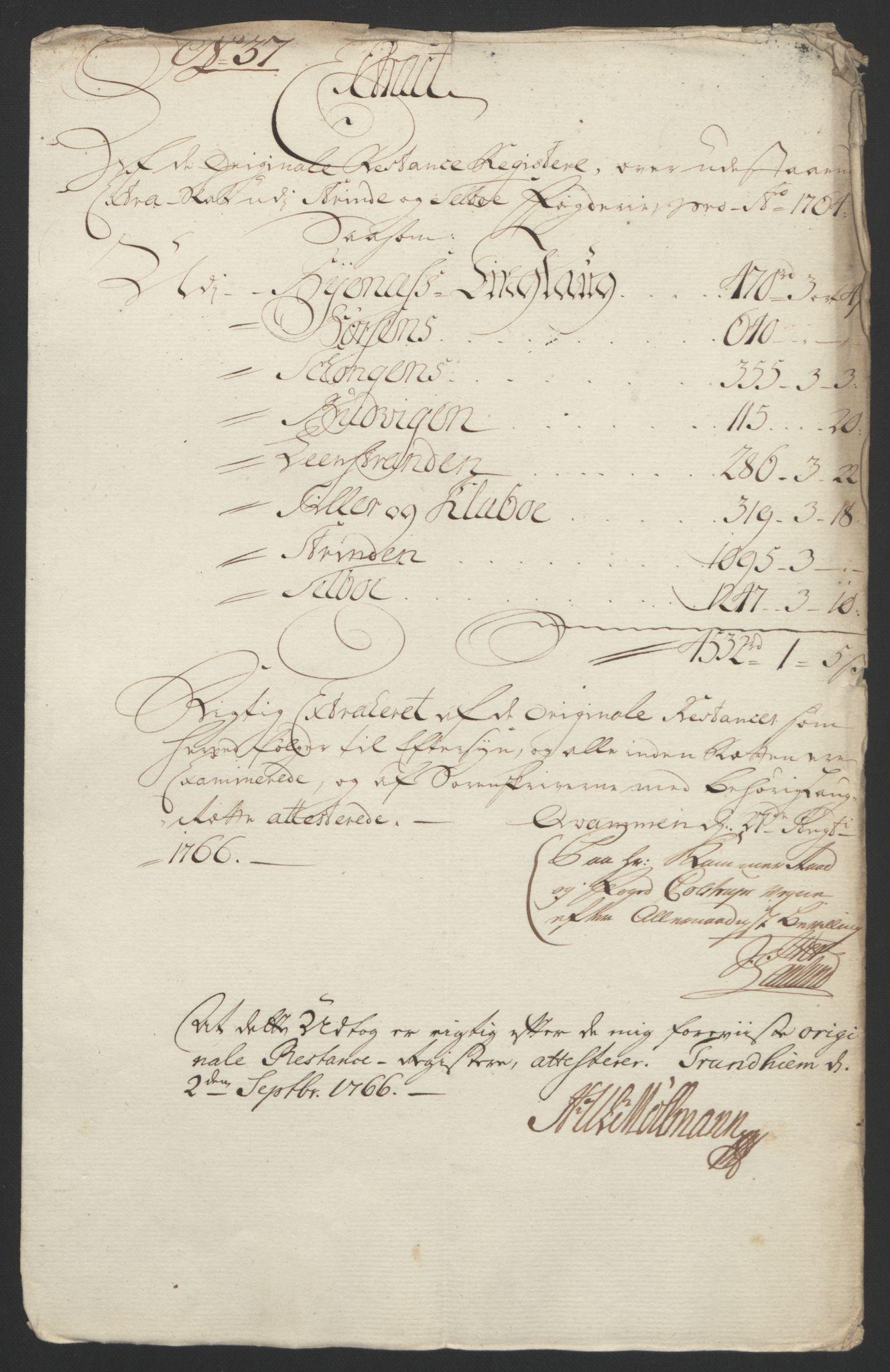 RA, Rentekammeret inntil 1814, Reviderte regnskaper, Fogderegnskap, R61/L4180: Ekstraskatten Strinda og Selbu, 1762-1767, s. 65
