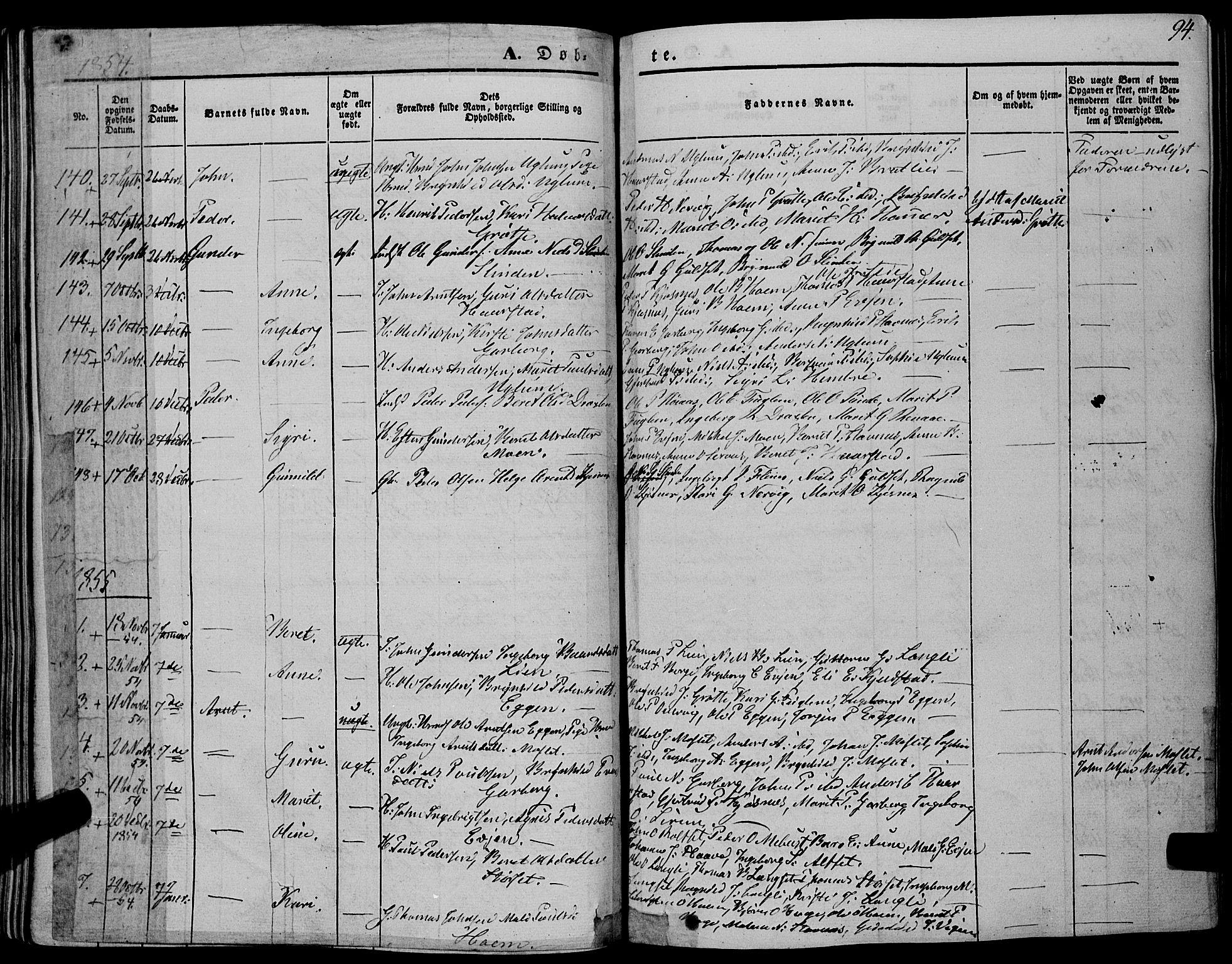 SAT, Ministerialprotokoller, klokkerbøker og fødselsregistre - Sør-Trøndelag, 695/L1145: Ministerialbok nr. 695A06 /1, 1843-1859, s. 94
