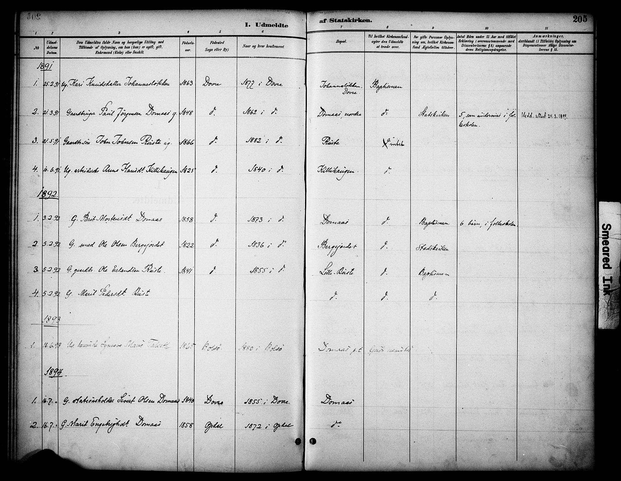 SAH, Dovre prestekontor, Ministerialbok nr. 3, 1891-1901, s. 205