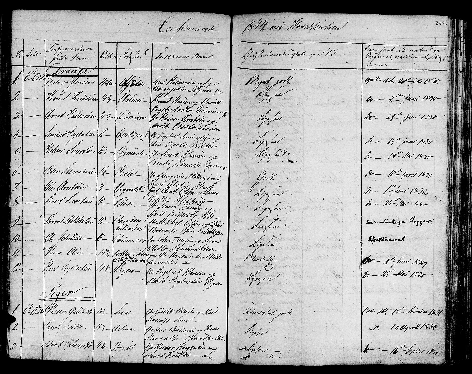 SAT, Ministerialprotokoller, klokkerbøker og fødselsregistre - Sør-Trøndelag, 678/L0897: Ministerialbok nr. 678A06-07, 1821-1847, s. 242