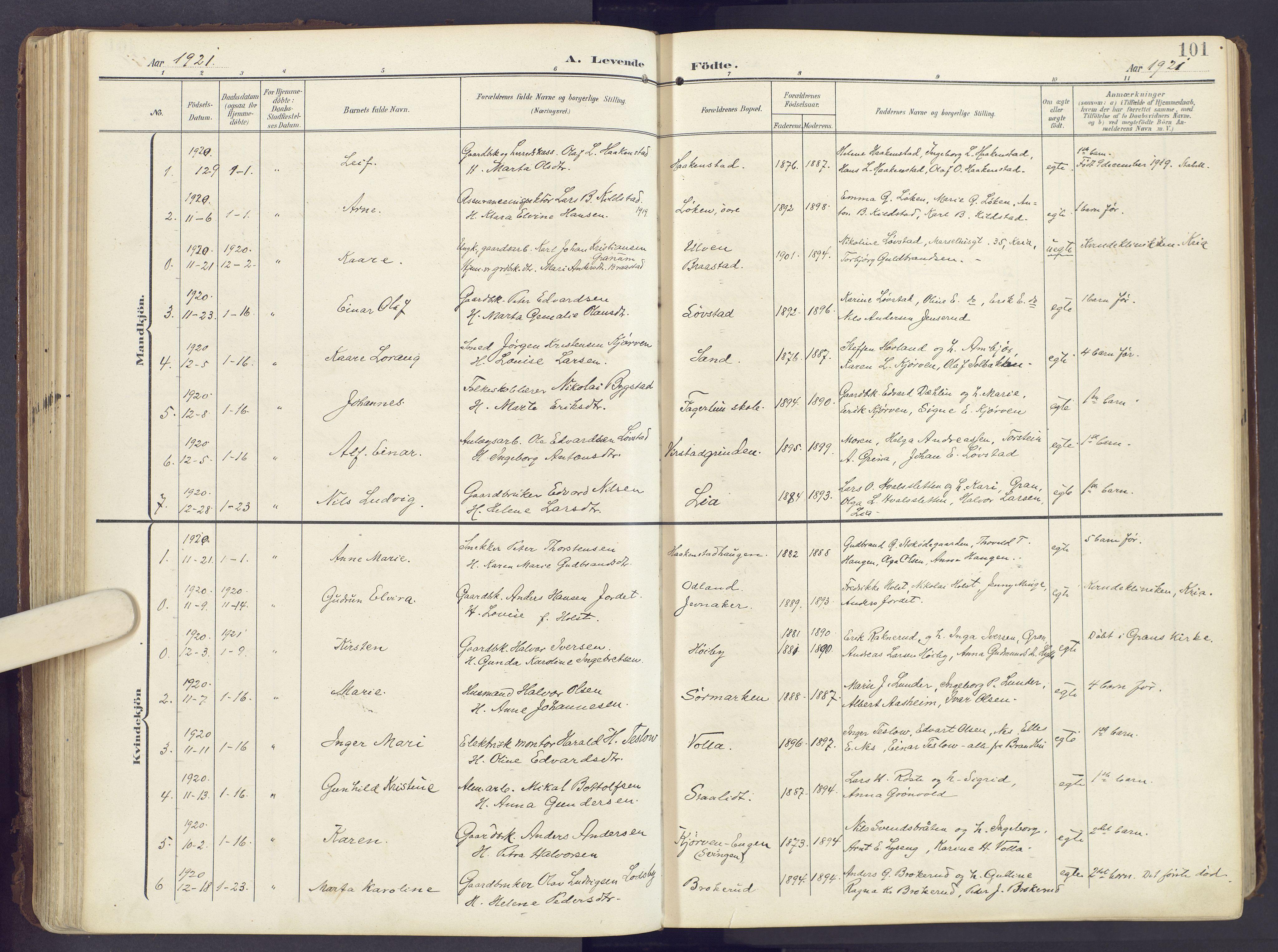 SAH, Lunner prestekontor, H/Ha/Haa/L0001: Ministerialbok nr. 1, 1907-1922, s. 101
