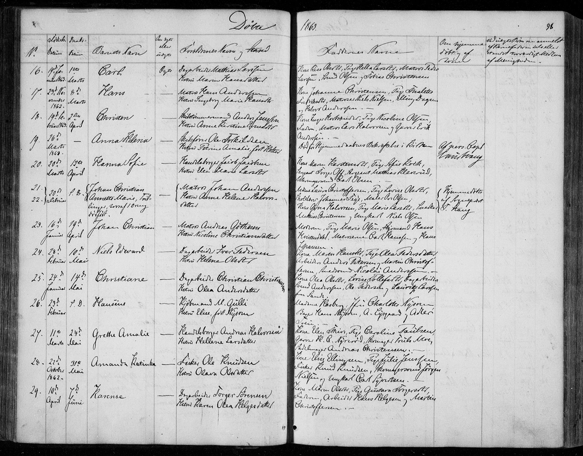 SAKO, Holmestrand kirkebøker, F/Fa/L0002: Ministerialbok nr. 2, 1840-1866, s. 98