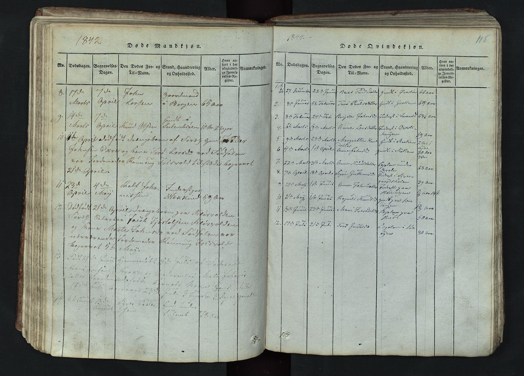 SAH, Lom prestekontor, L/L0002: Klokkerbok nr. 2, 1815-1844, s. 115