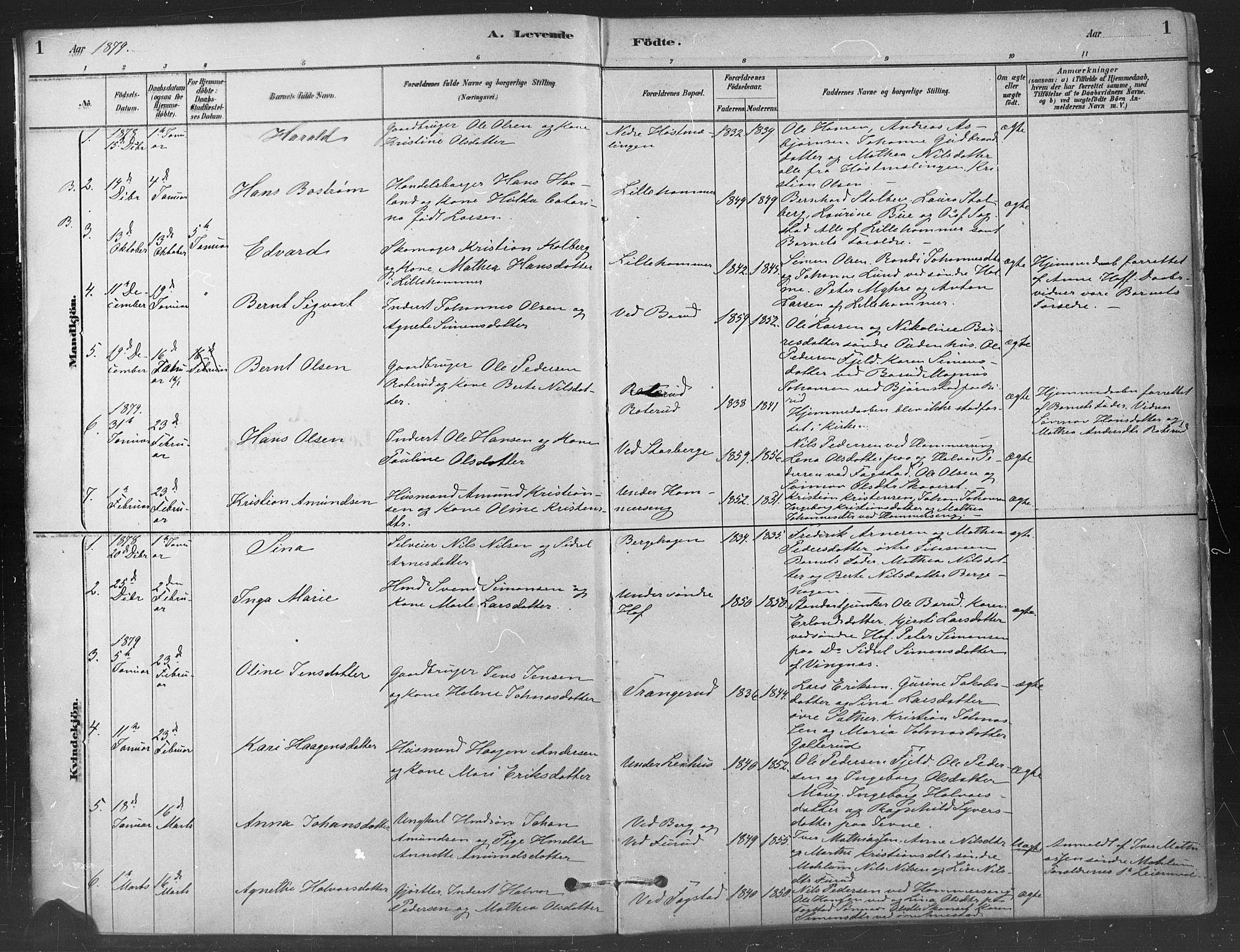 SAH, Fåberg prestekontor, Ministerialbok nr. 9, 1879-1898, s. 1