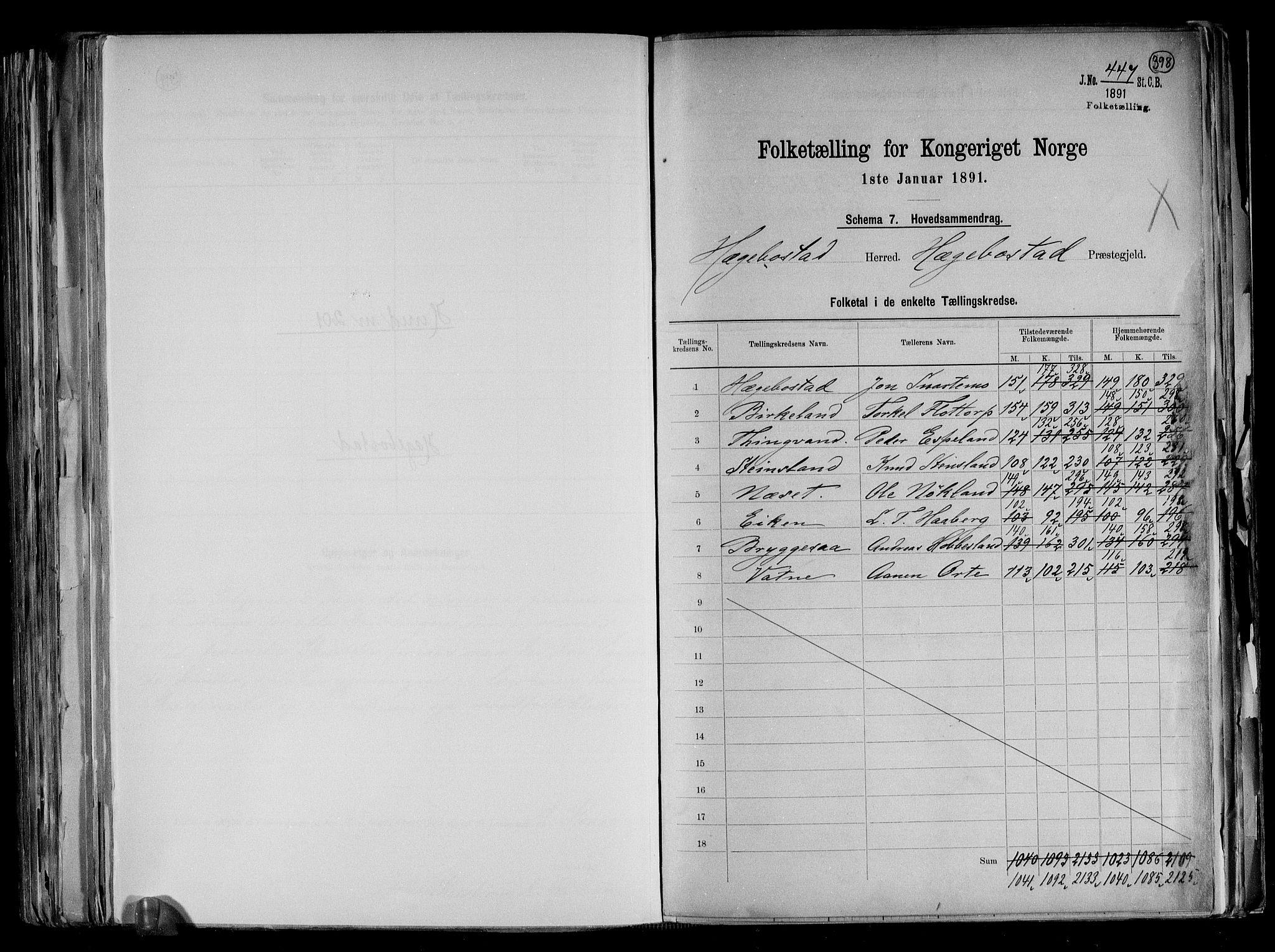 RA, Folketelling 1891 for 1034 Hægebostad herred, 1891, s. 2