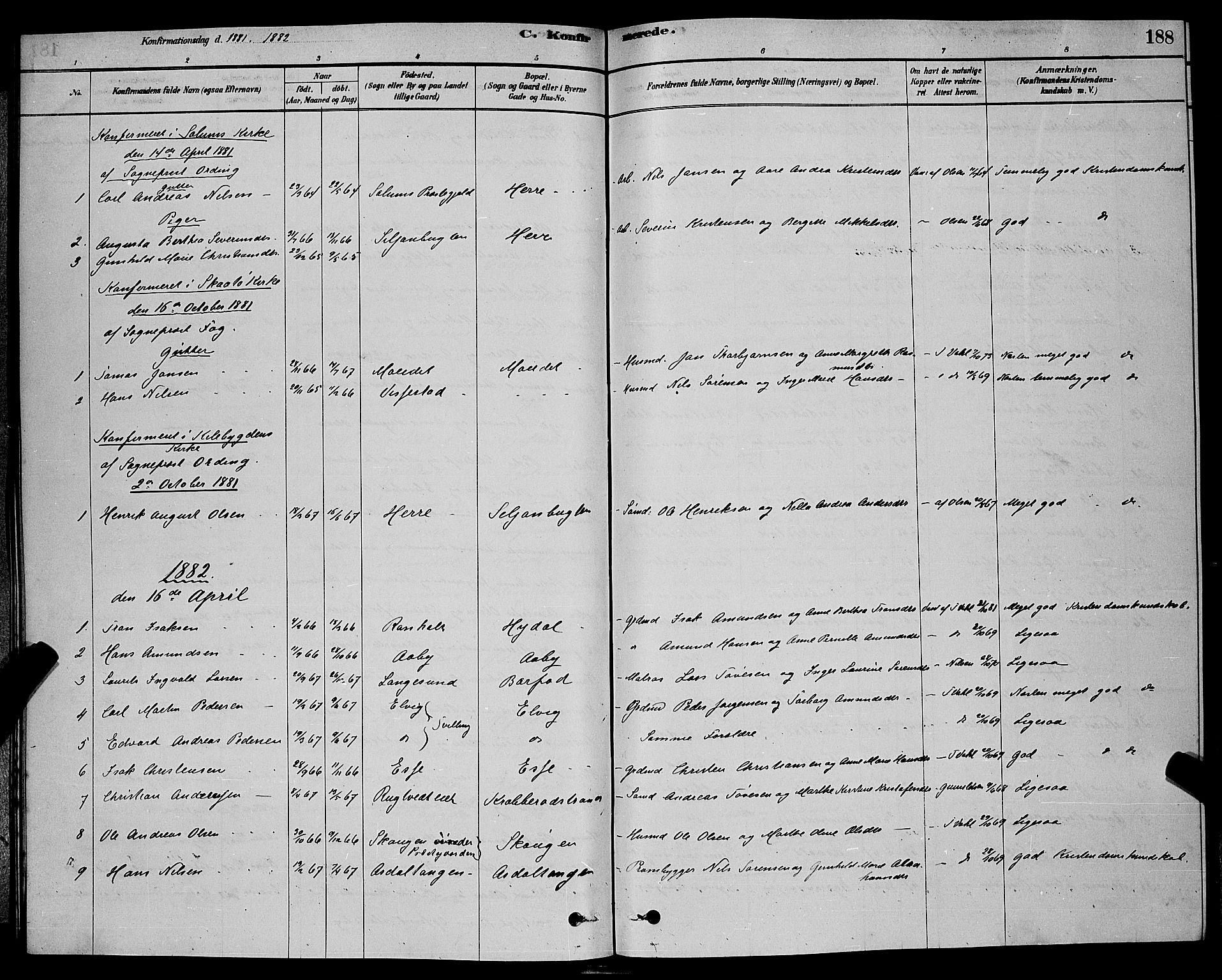 SAKO, Bamble kirkebøker, G/Ga/L0008: Klokkerbok nr. I 8, 1878-1888, s. 188