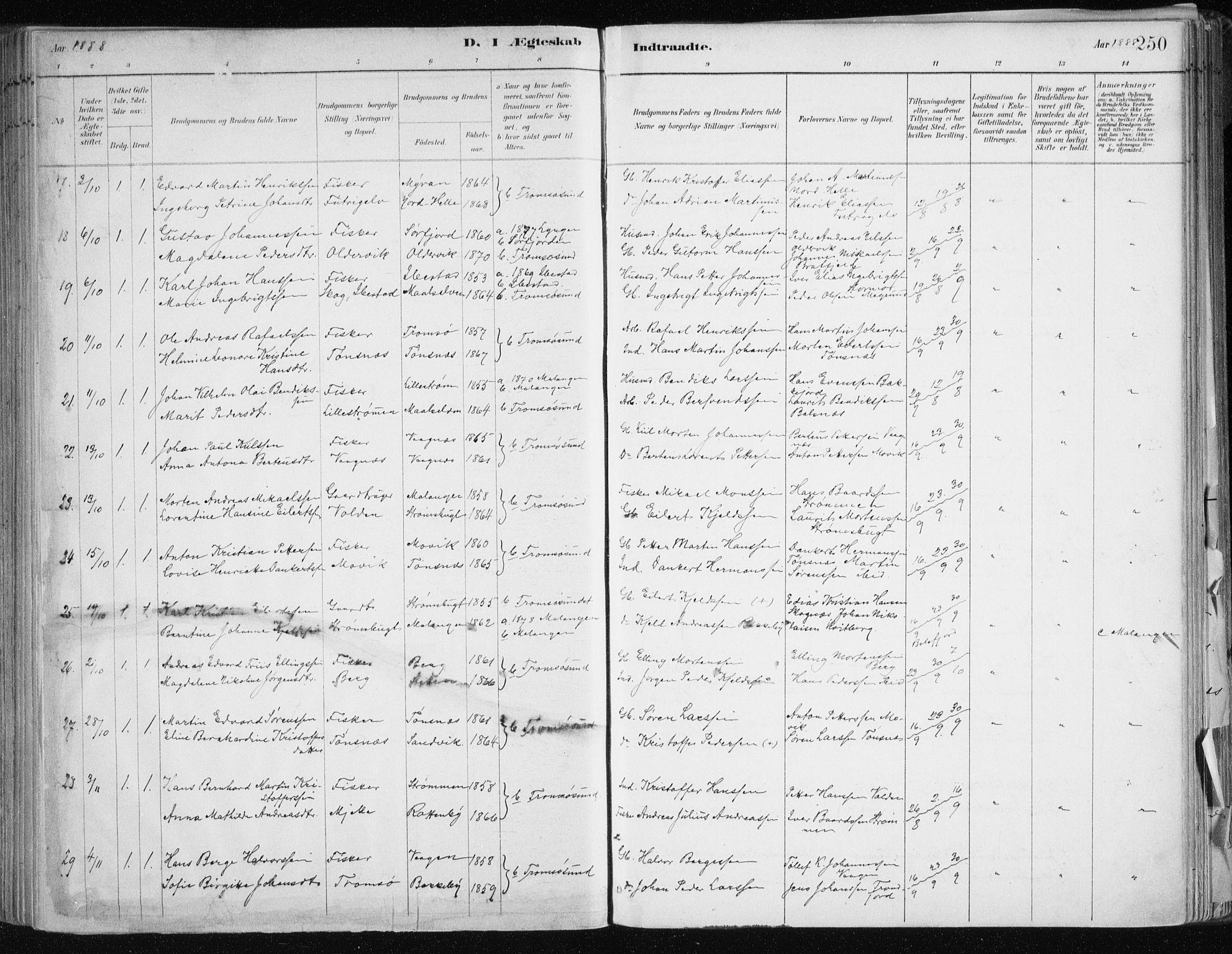 SATØ, Tromsøysund sokneprestkontor, G/Ga/L0005kirke: Ministerialbok nr. 5, 1888-1896, s. 250