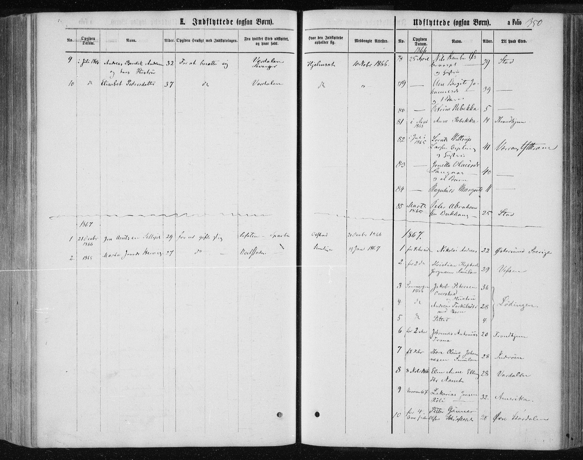 SAT, Ministerialprotokoller, klokkerbøker og fødselsregistre - Nord-Trøndelag, 735/L0345: Ministerialbok nr. 735A08 /1, 1863-1872, s. 350