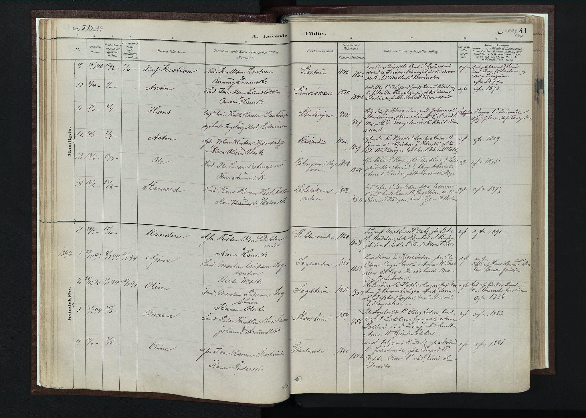 SAH, Nord-Fron prestekontor, Ministerialbok nr. 4, 1884-1914, s. 41