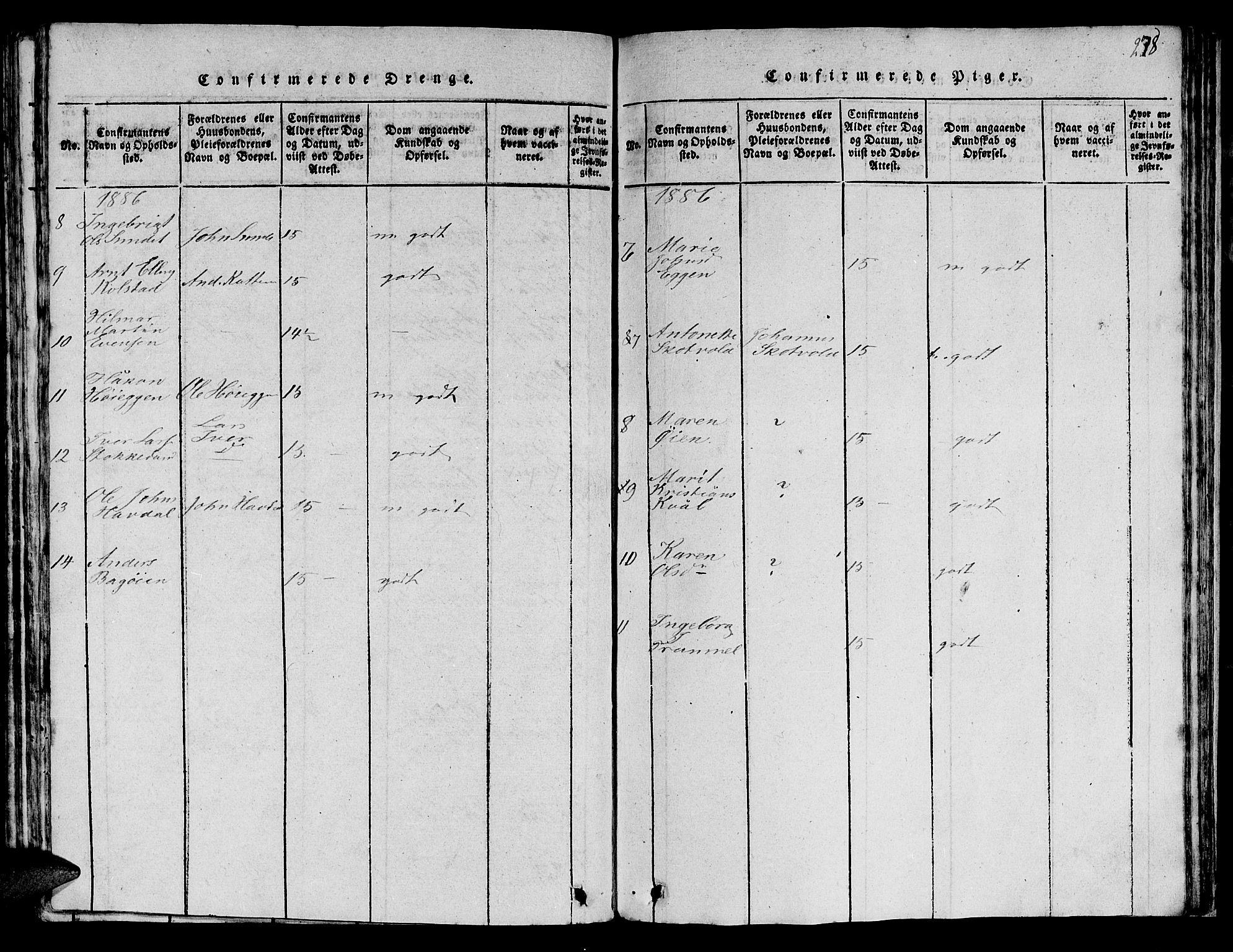 SAT, Ministerialprotokoller, klokkerbøker og fødselsregistre - Sør-Trøndelag, 613/L0393: Klokkerbok nr. 613C01, 1816-1886, s. 278